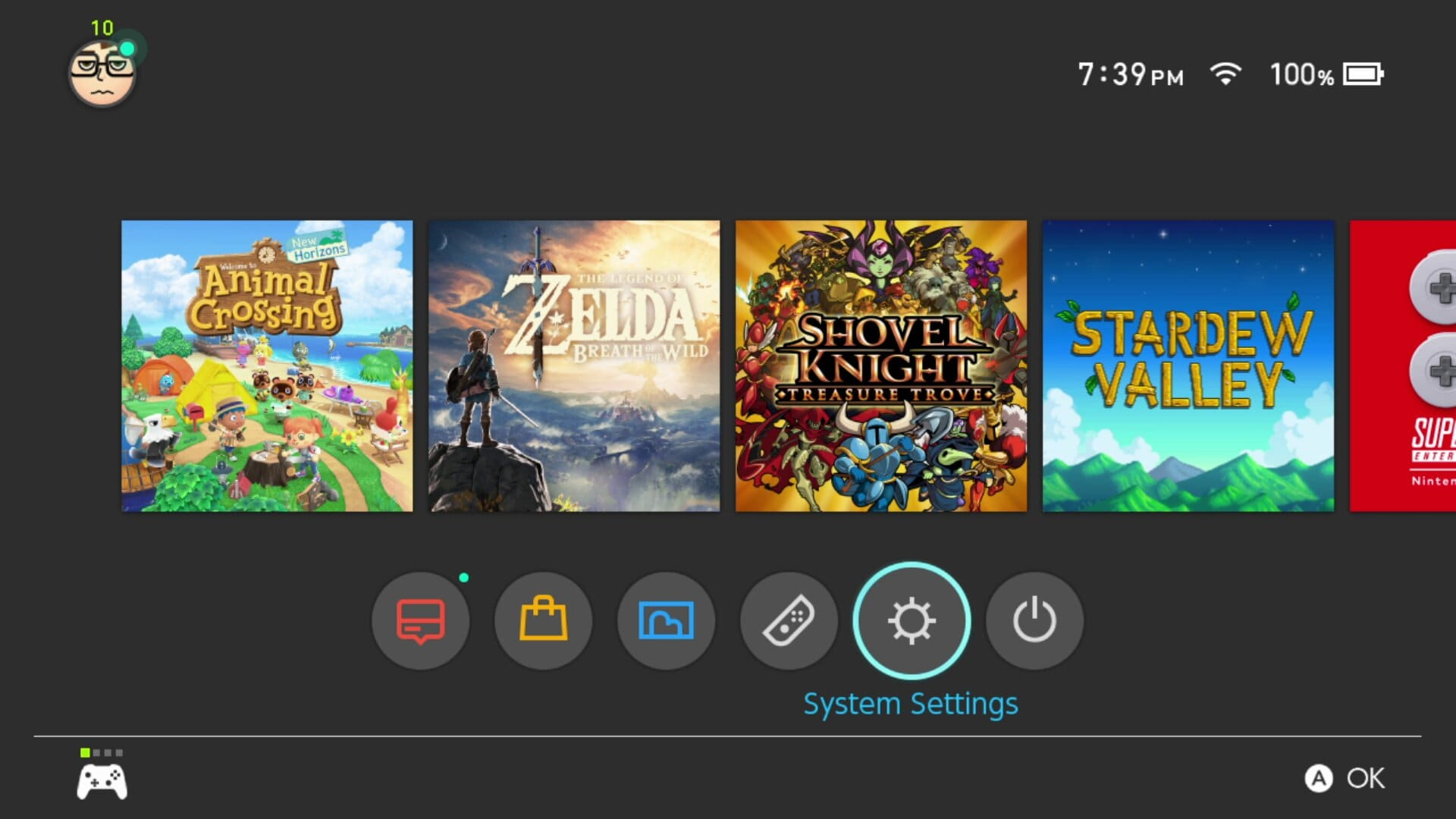 Locate the System settings on your Switch menu