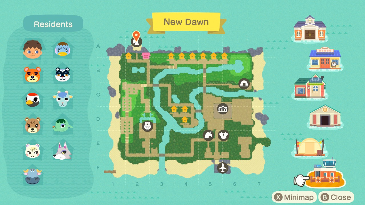 Redd's boat dock on map - animal crossing: new horizons
