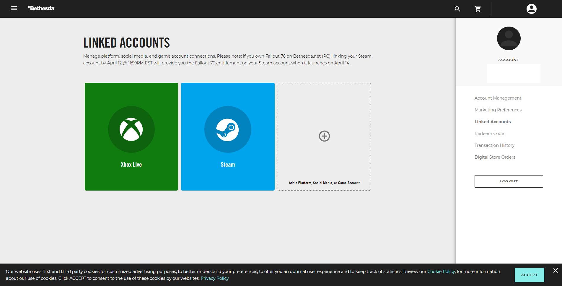 Link Bethesda to Steam account