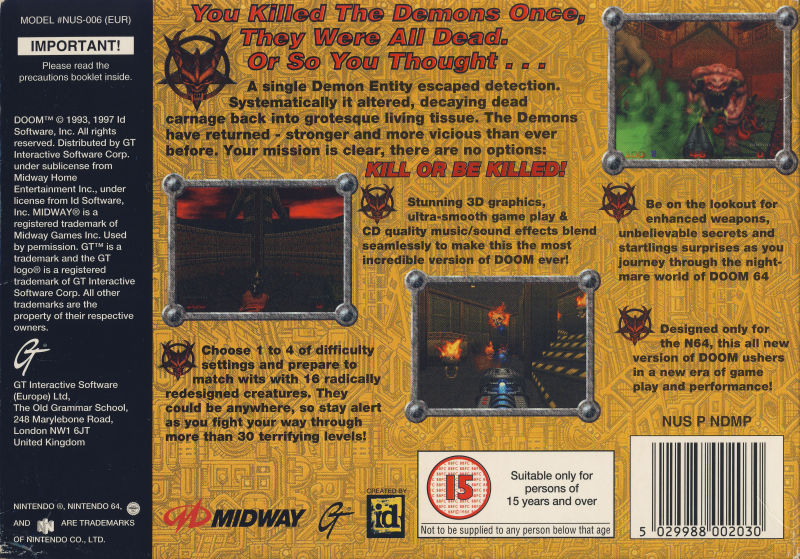 Doom 64's box art, reverse side.