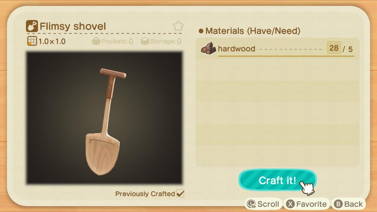 how to get a shovel - flimsy shovel recipe - animal crossing: new horizons
