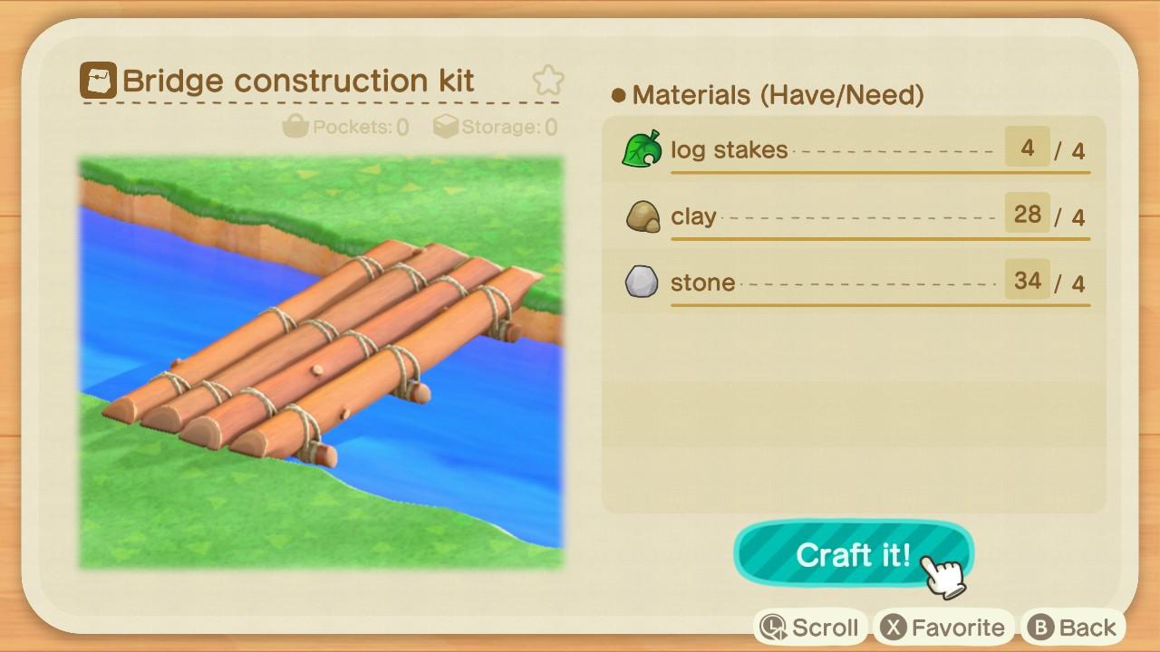 Log Bridge recipe - Animal Crossing: New Horizons