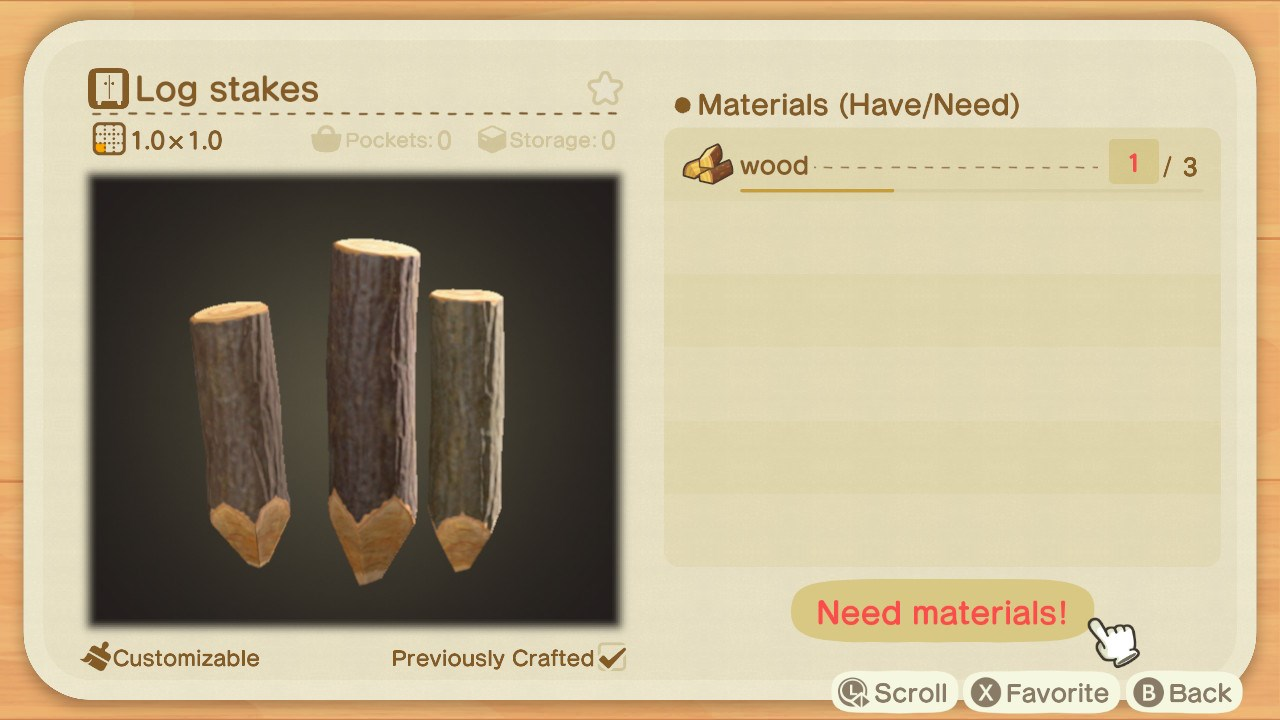 Log Stakes recipe - Animal Crossing: New Horizons