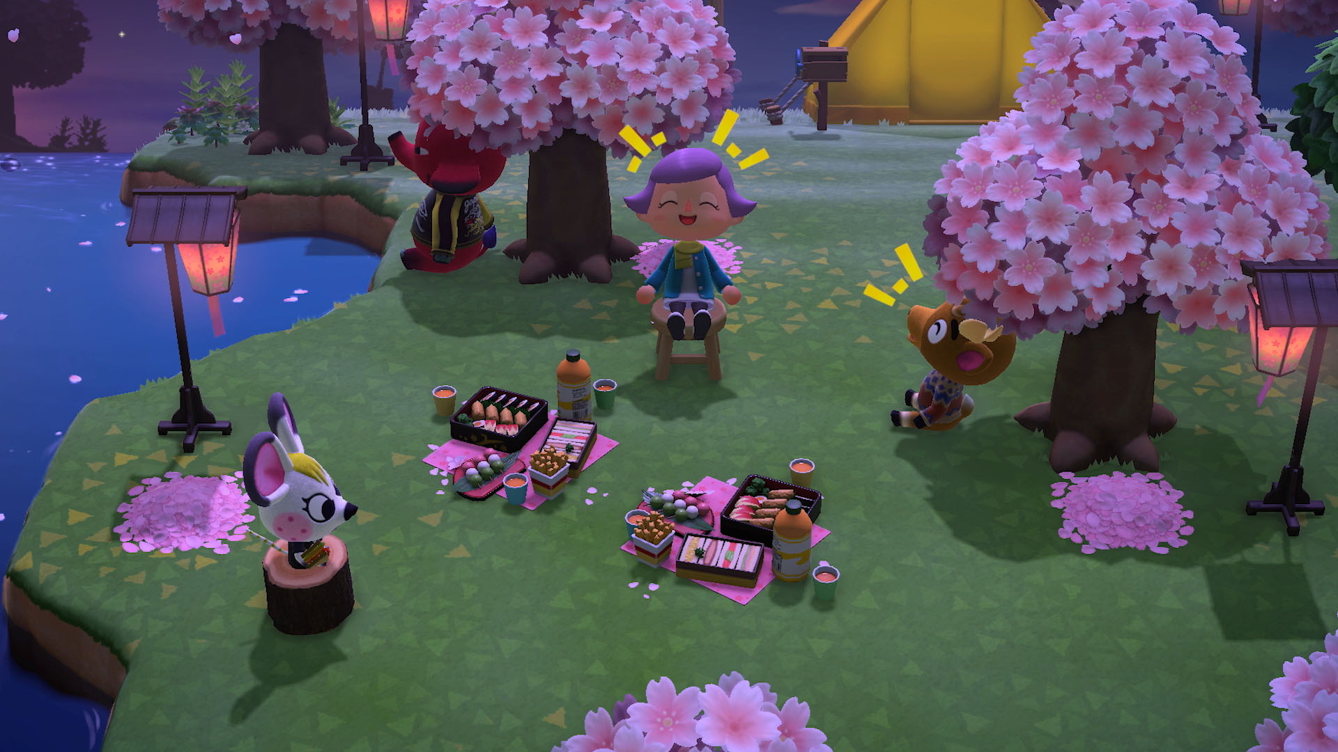 Chilling with villagers - animal crossing: new horizons