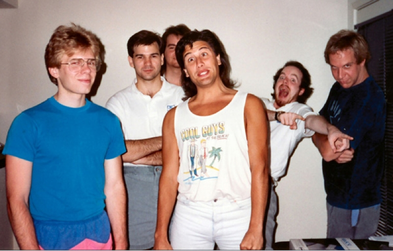 id Software's early days. From left to right: John Carmack, Kevin Cloud, Adrian Carmack (back, no relation to John), John Romero, Tom Hall, and Jay Wilbur.