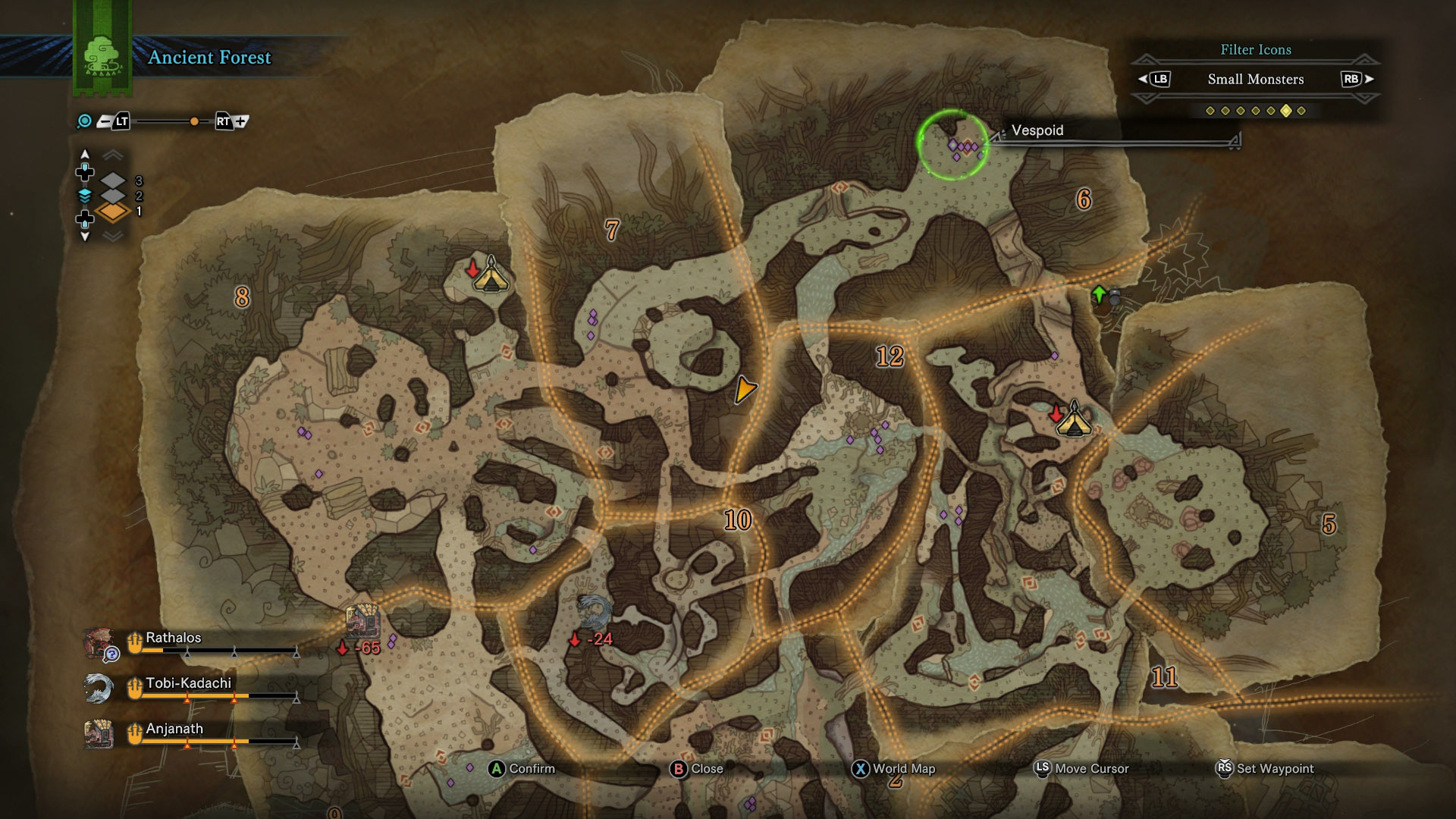 vespoid location map mhw