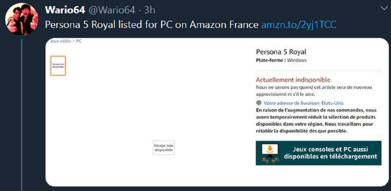 Wario 64 has since deleted this tweet which showed a Persona 5 Royal PC listing among other games on Amazon France.