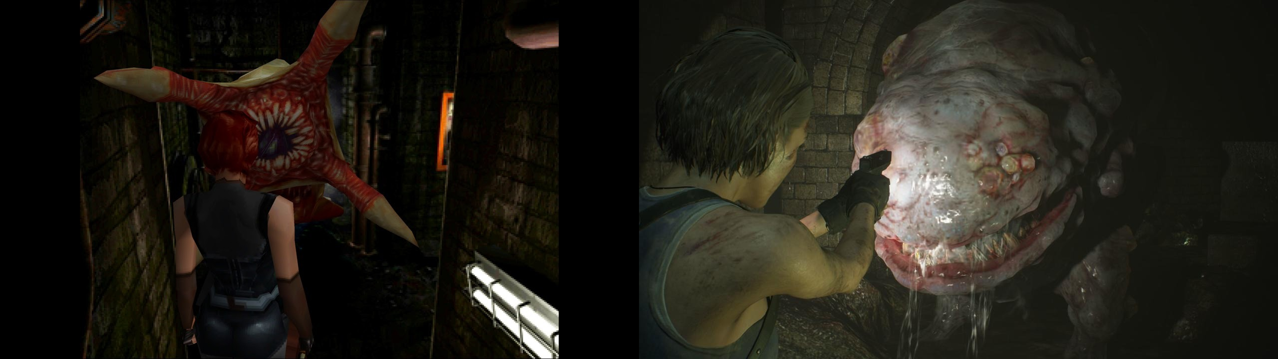 The Grave Digger boss in RE3 class (left), and the Hunter Gamma in RE3 remake.