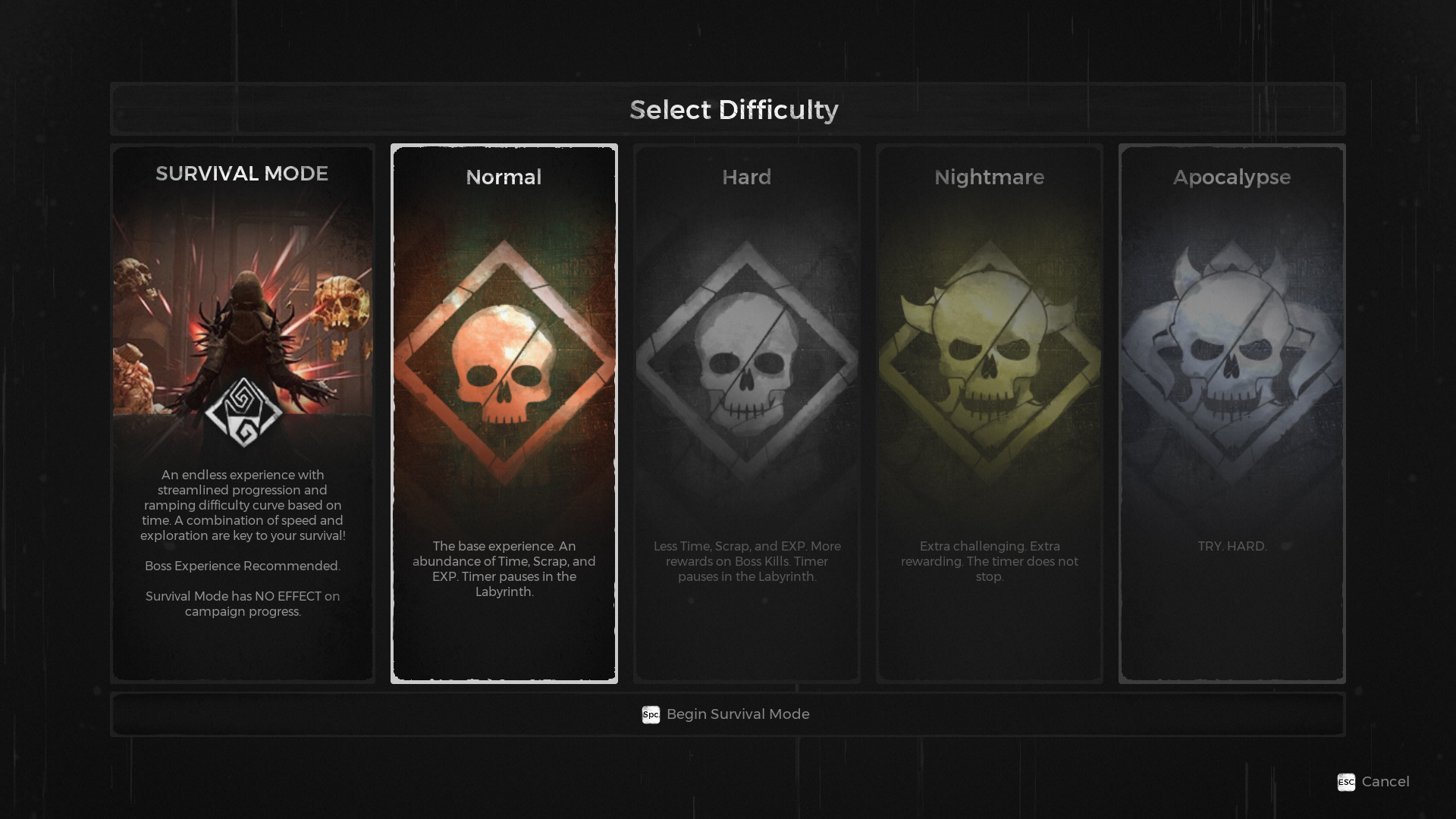 Remnant Survival Mode difficulties