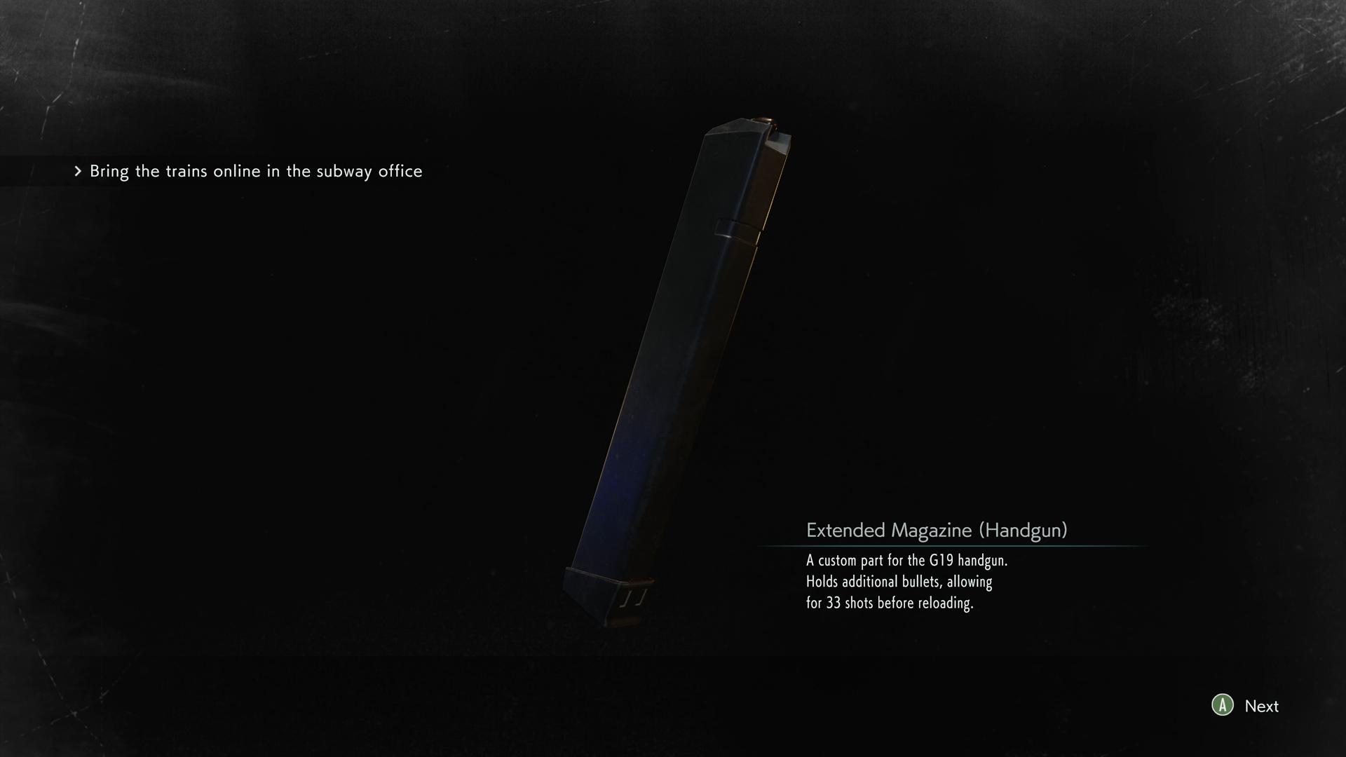 Resident Evil 3 Extended Magazine Handgun location