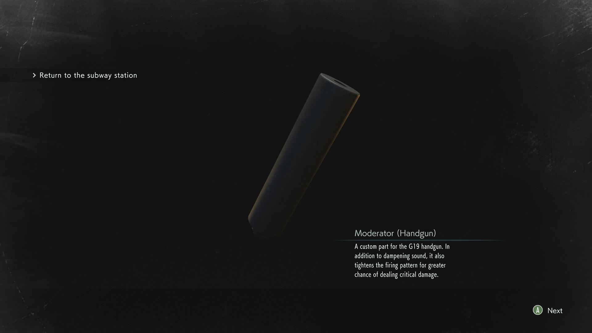 Resident Evil 3 Moderator Handgun location