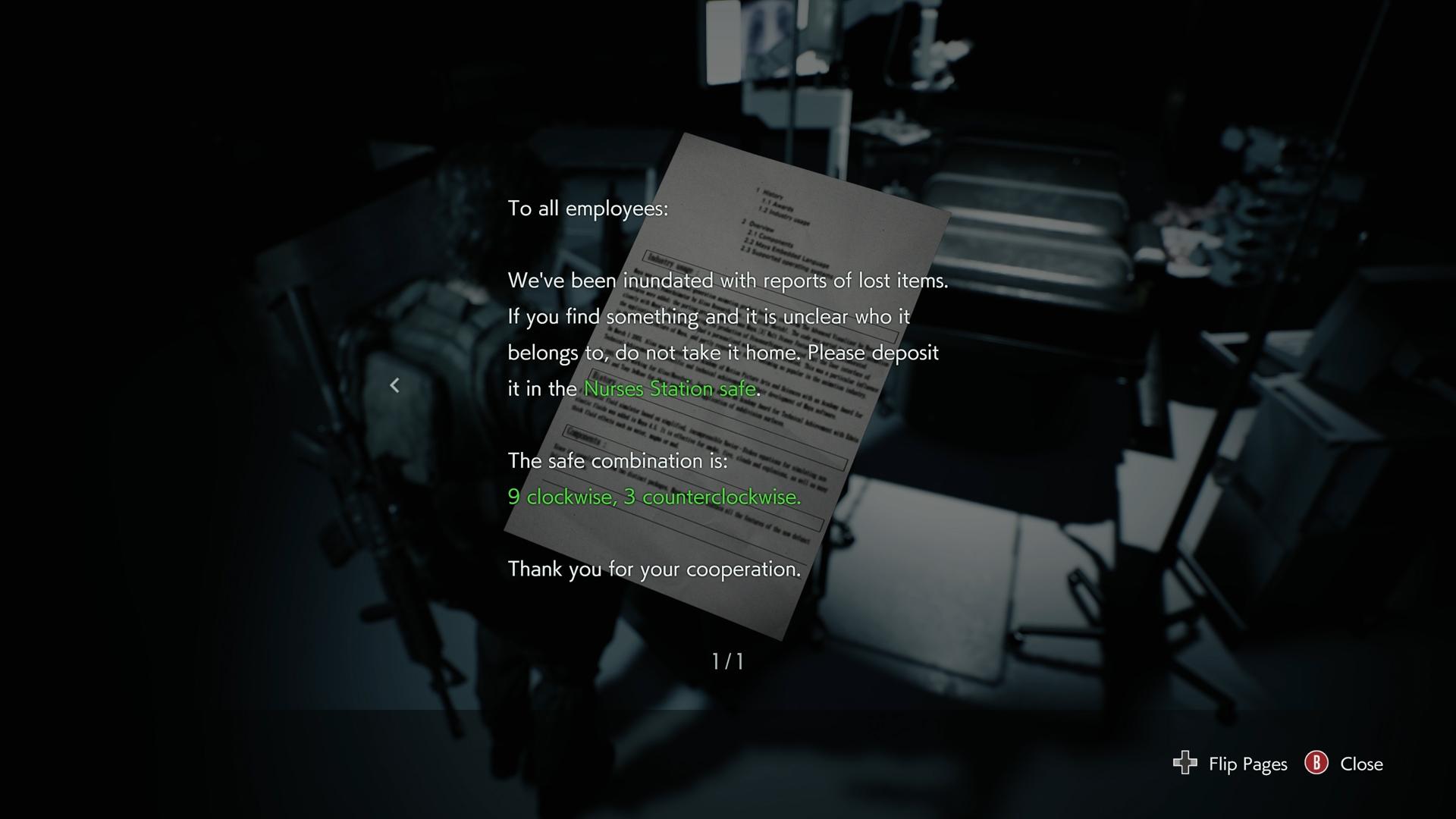 Resident Evil 3 safe codes locations Hospital safe code