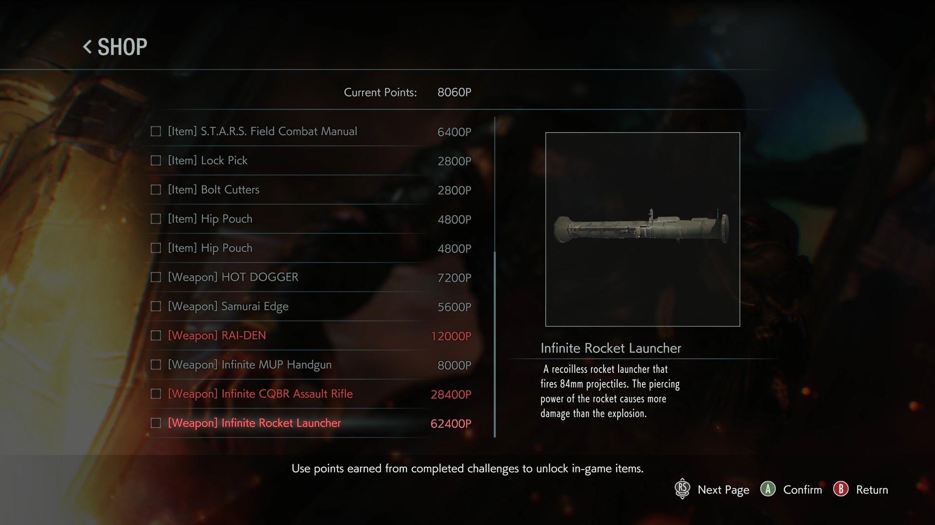 Resident Evil 3 shop infinite ammo rocket launcher