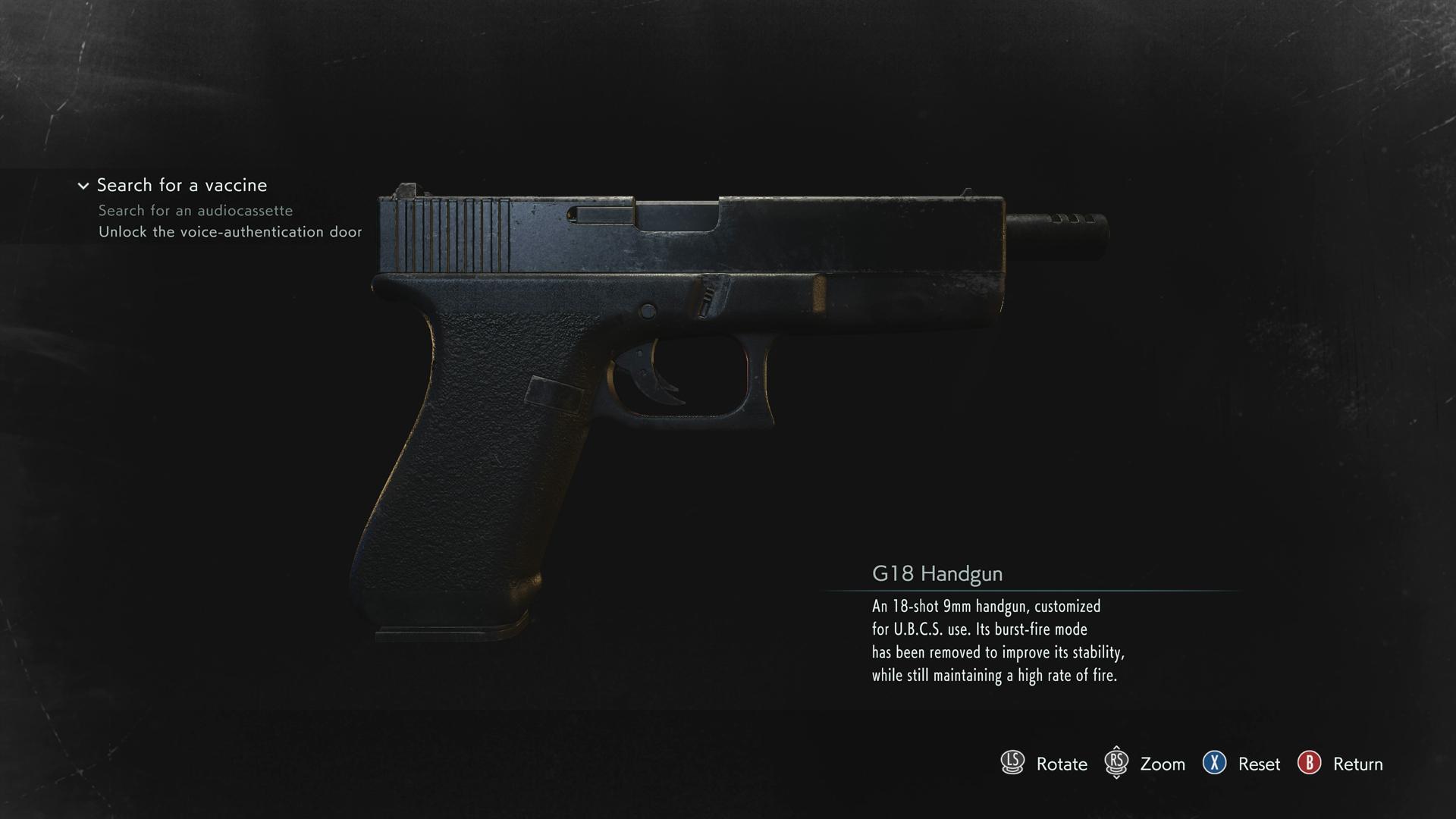 Resident Evil 3 G18 Handgun