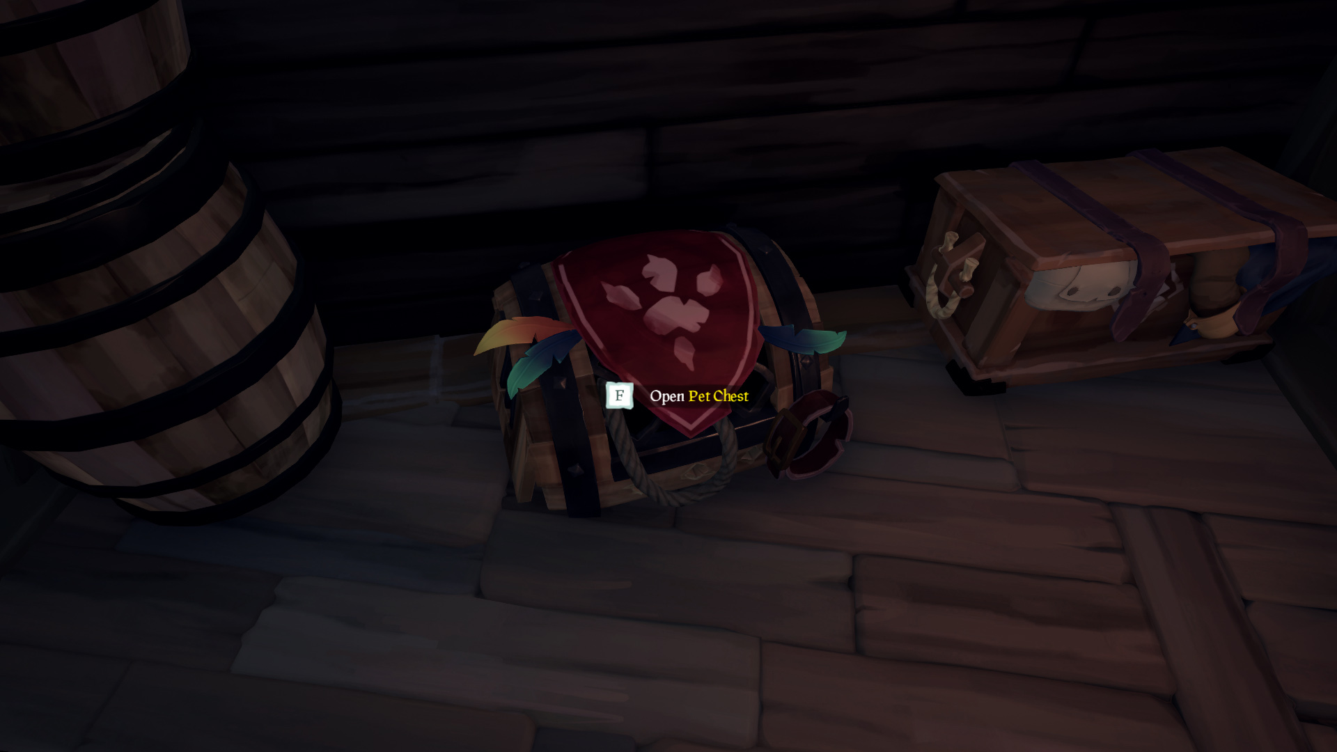 Sea of Thieves equip a pet at a Pet Chest
