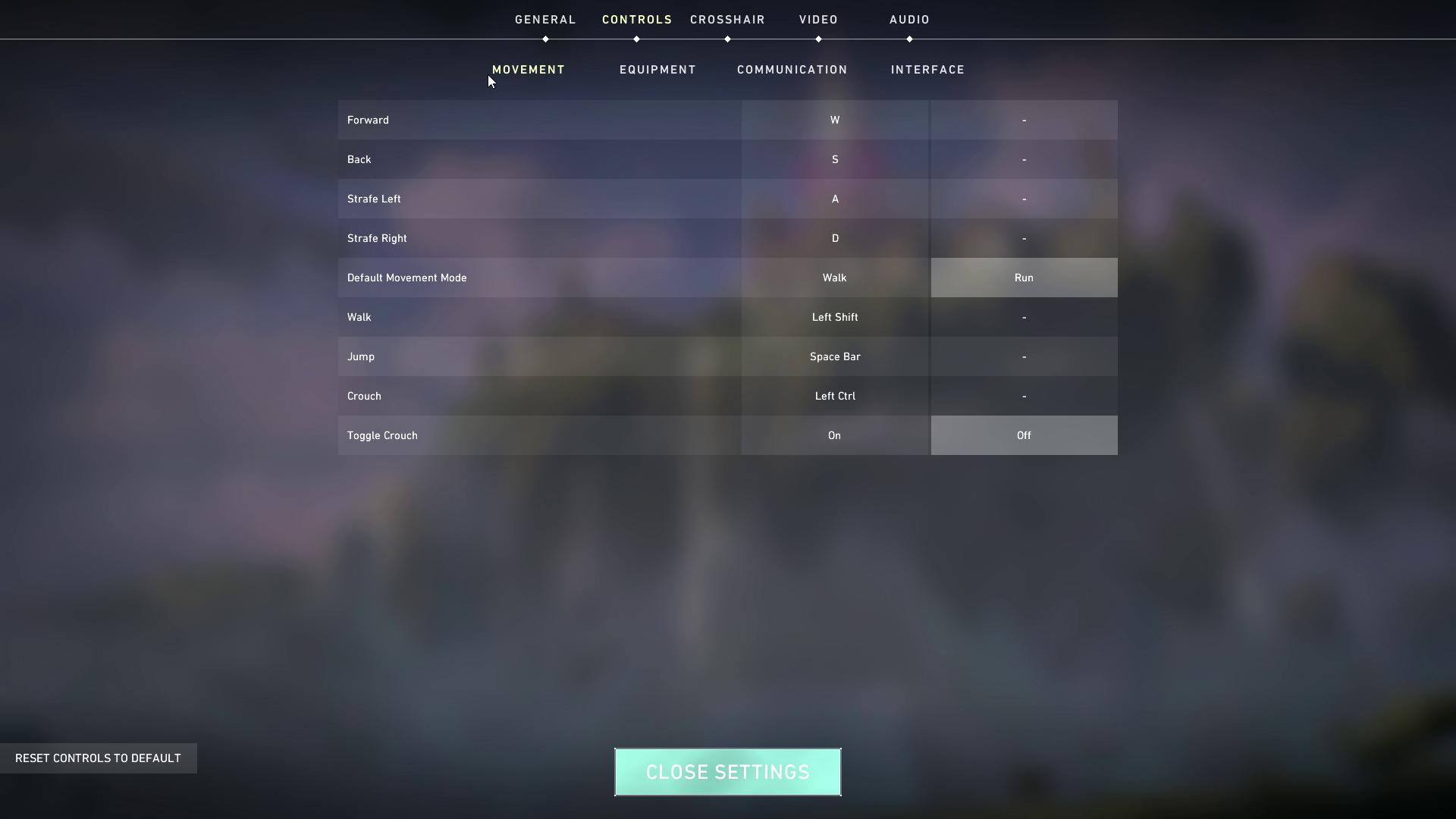 VALORANT key bind settings page