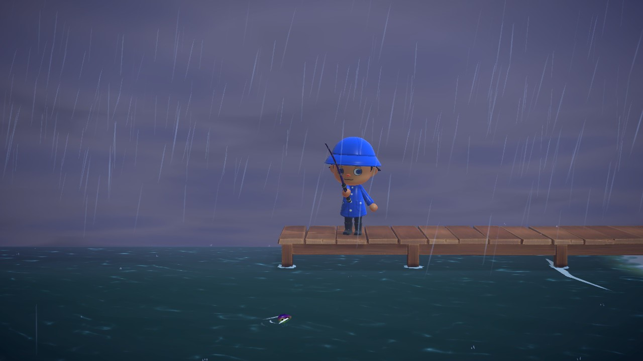 Fishing off the pier for the Mahi-Mahi in Animal Crossing: New Horizons.
