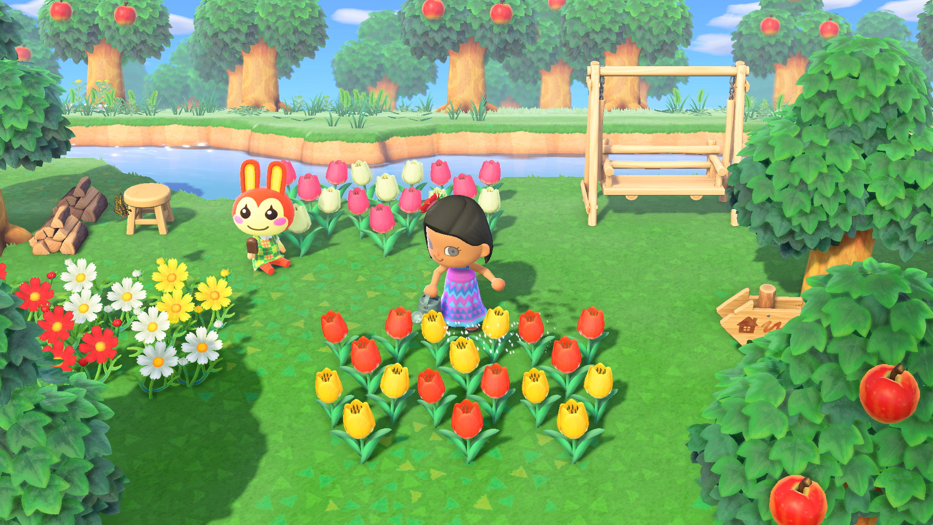 Animal Crossing: New Horizons watering flowers - can you craft in bulk