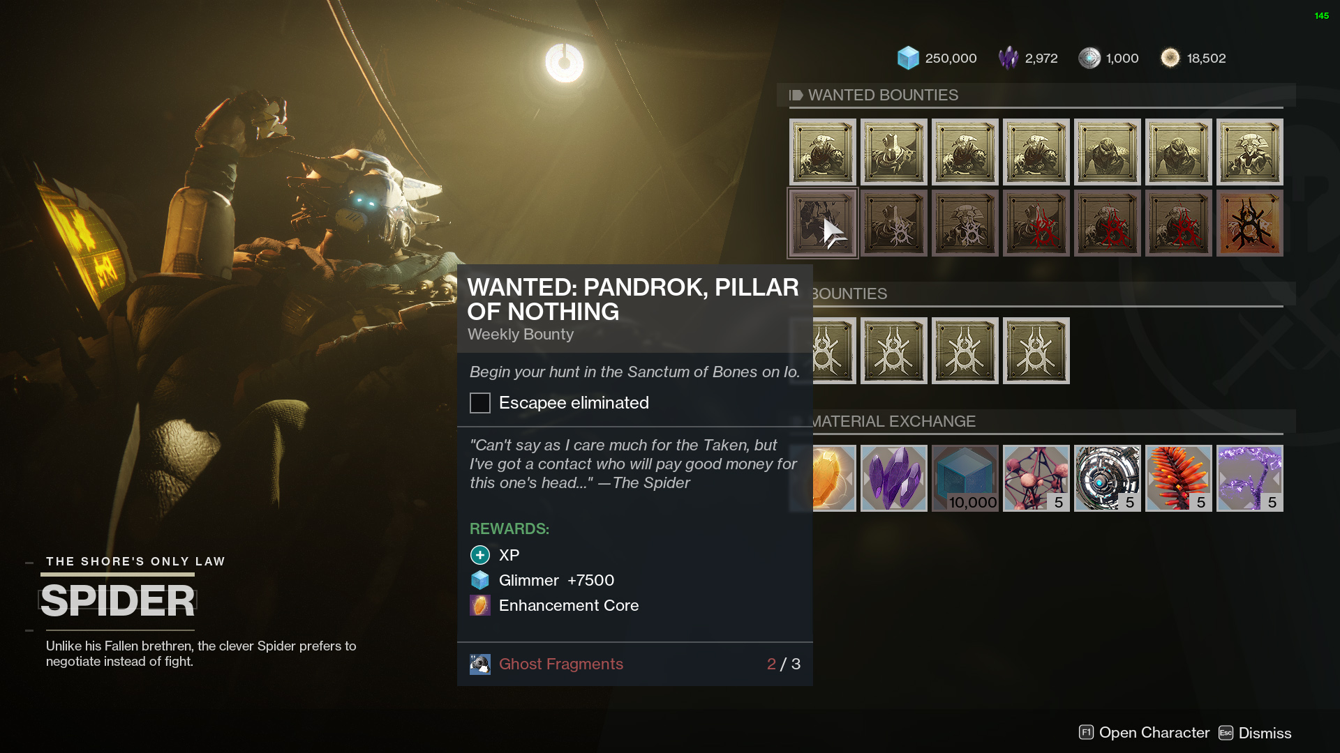 destiny 2 spider wanted pandrok pillar of nothing