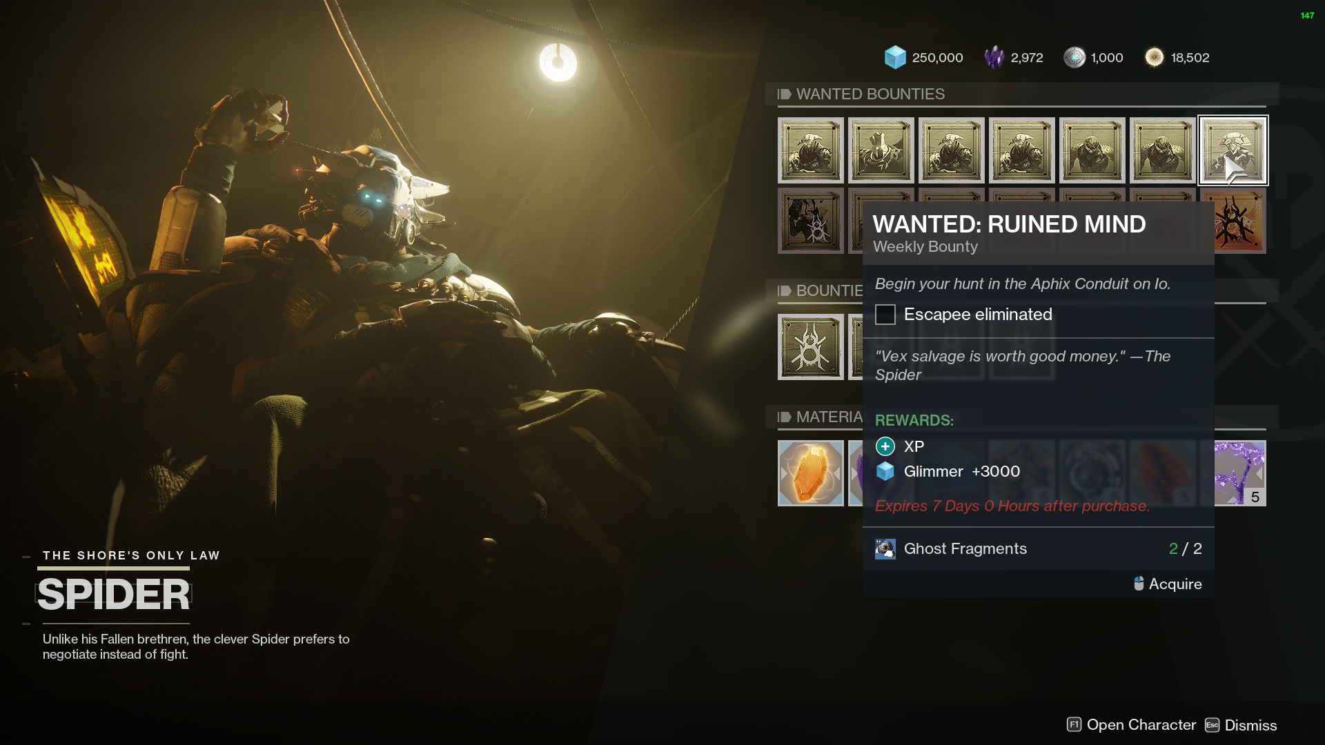 destiny 2 spider wanted ruined mind