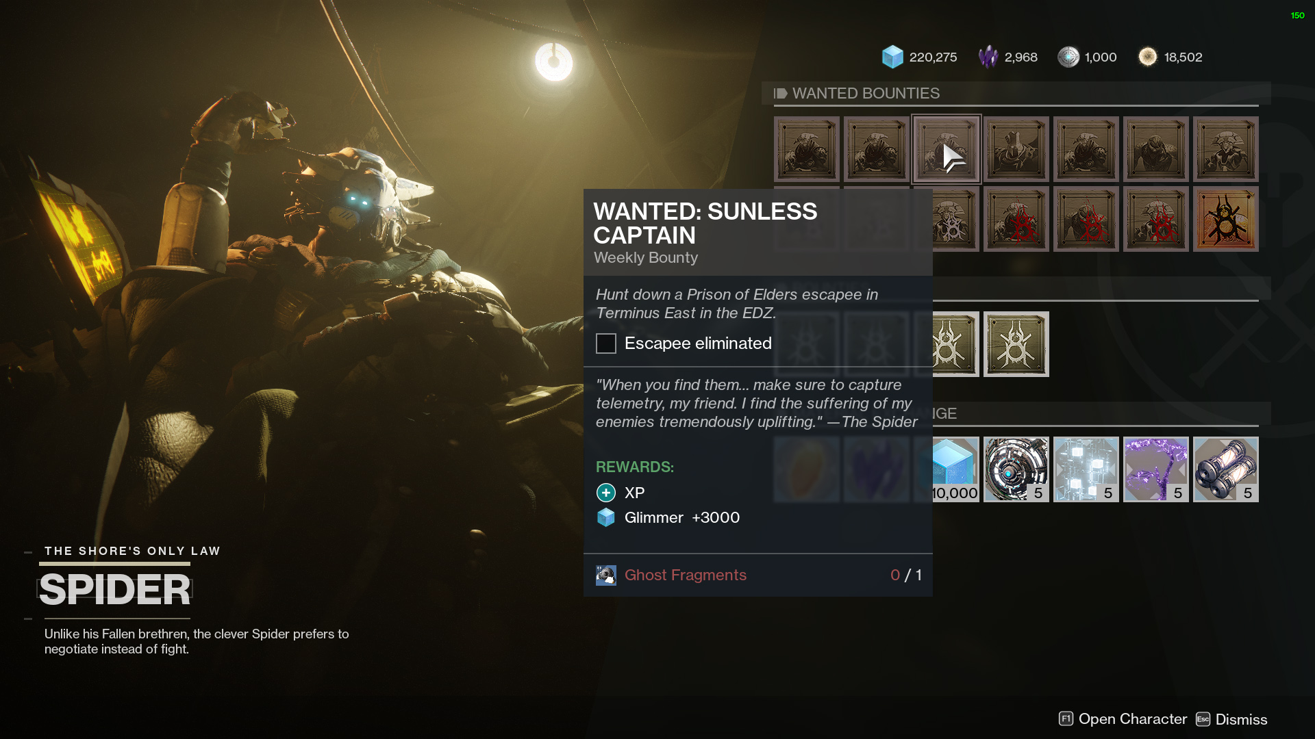 destiny 2 wanted sunless captain
