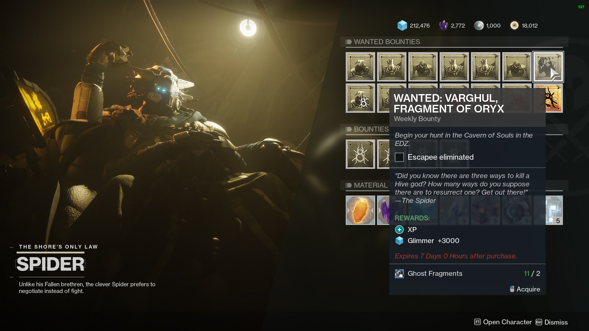 destiny 2 spider wanted varghul fragment of oryx