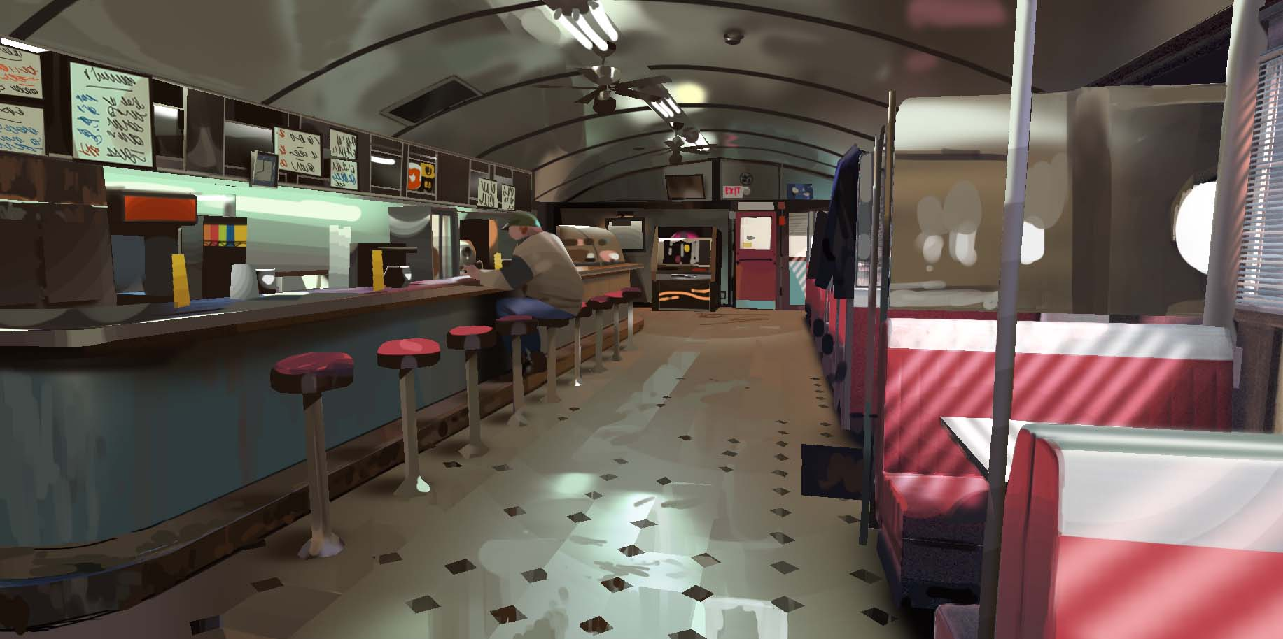 The diner. (Image courtesy of Square Enix.)