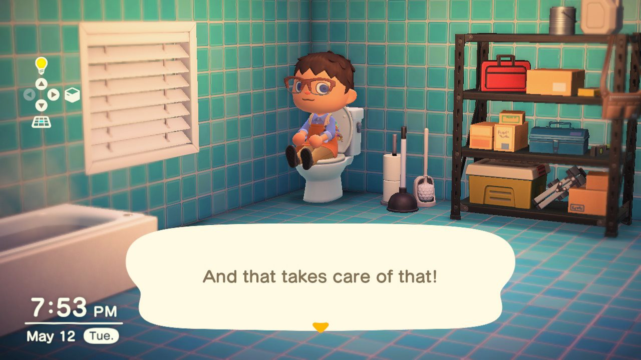 How to get rid of the food buff by using the toilet - animal crossing: new horizons
