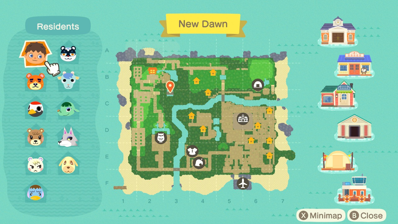 what the rock garden looks like on the map in animal crossing: new horizons