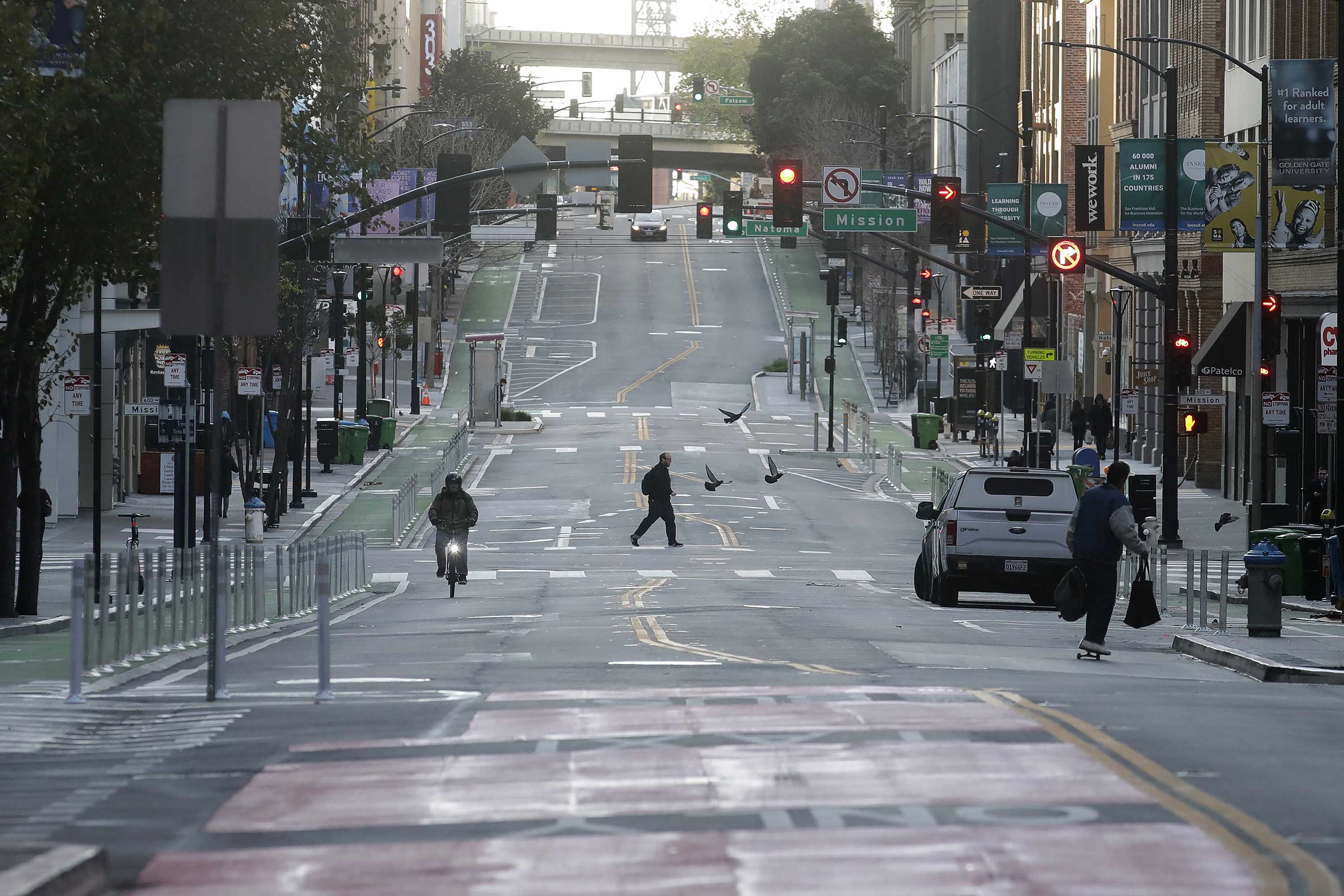 San Francisco's streets were empty, as shown in a photgraph taken early in the city's quarantine.