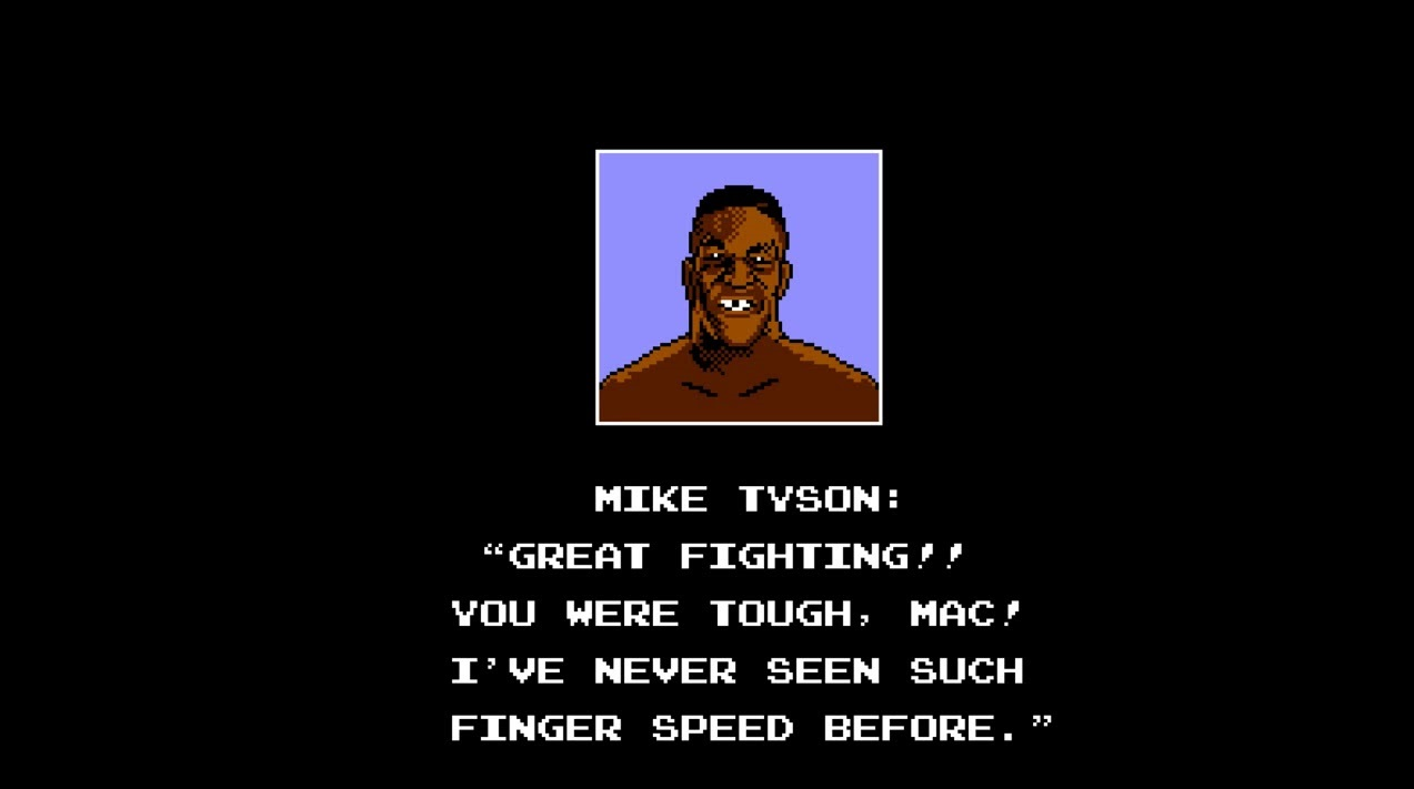 Mike Tyson seen here congratulating me on beating Punch Out!! in first grade.