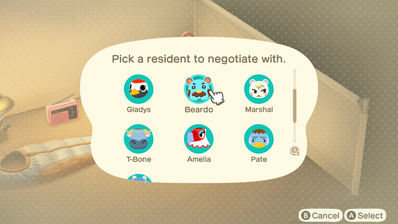 Moving Villagers out with the campside in Animal Crossing: New Horizons.