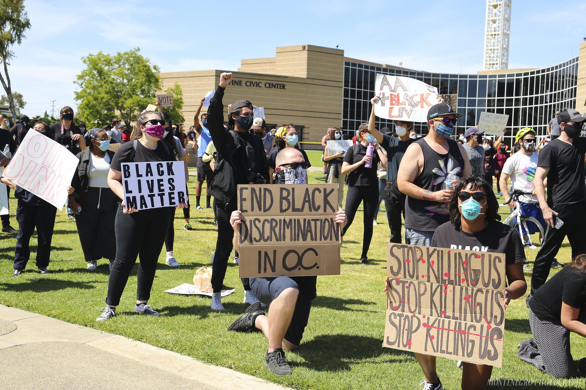A Black Lives Matter protest in Irvine, CA