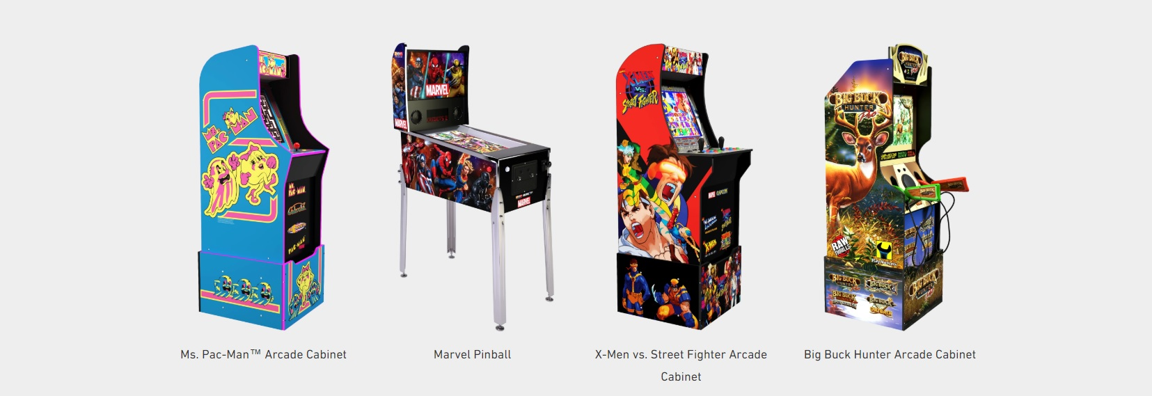 Arcade1Up's newest lineup of arcade releases.