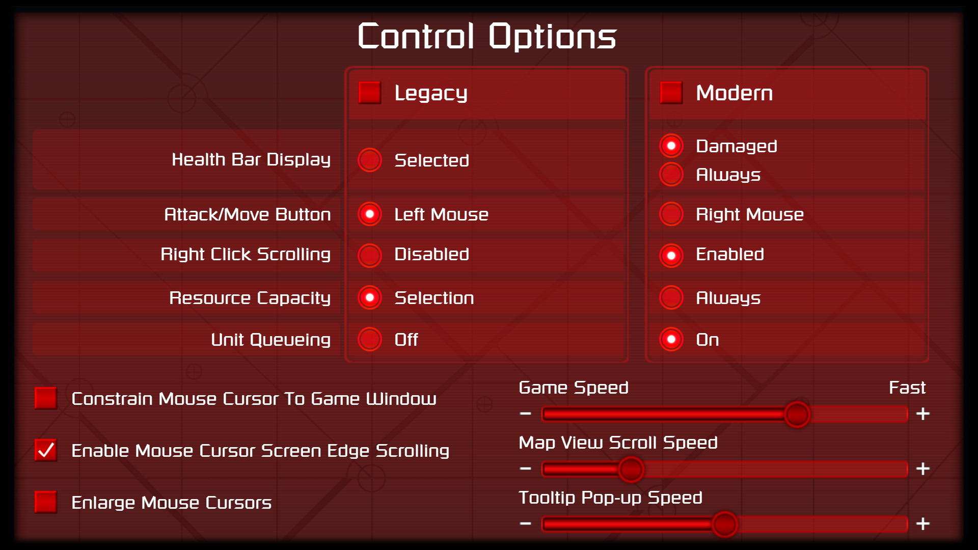 The input options screen allows players to alter controls to match newer RTS games.