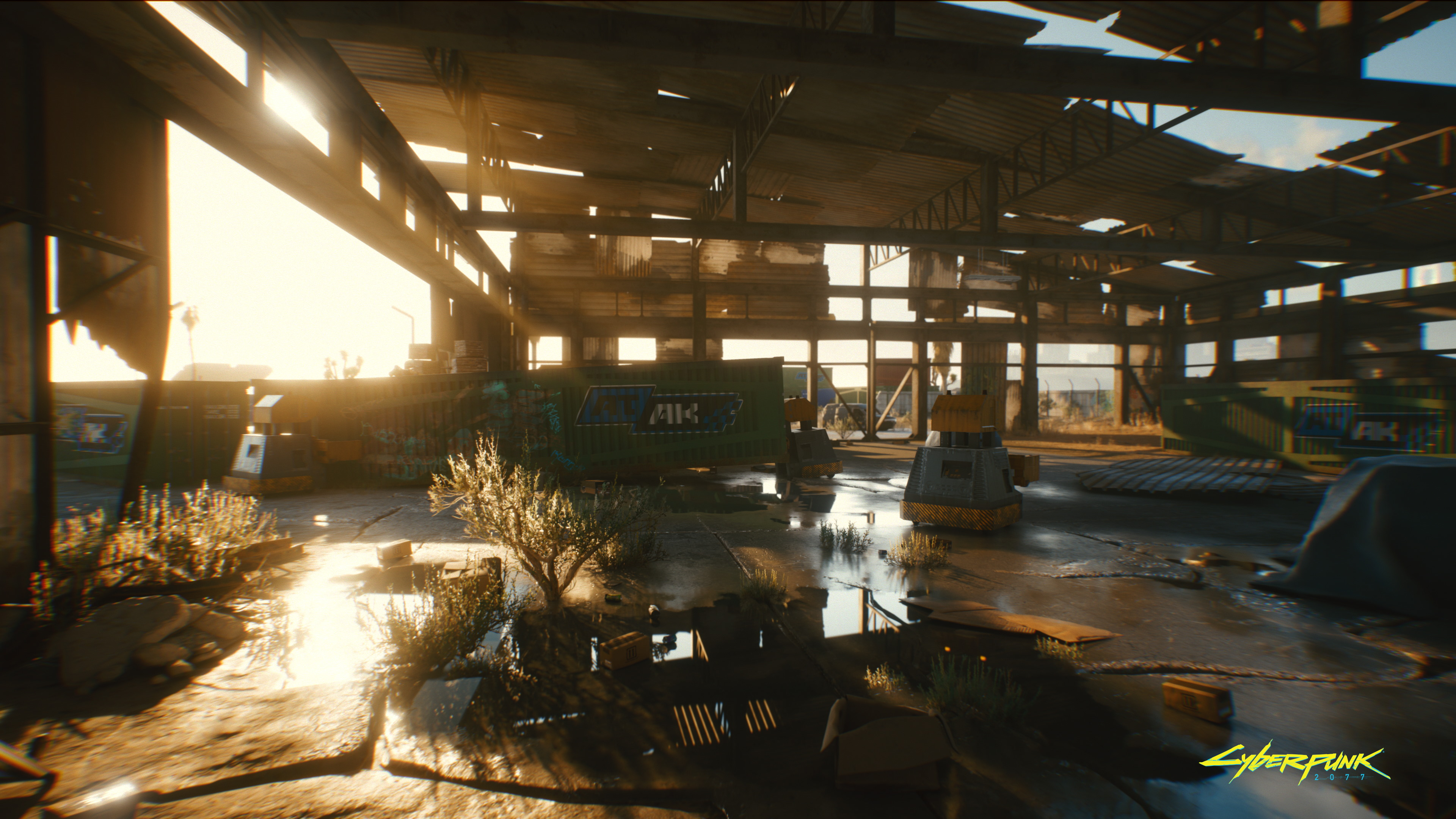 This busted warehouse screenshot shows off ray-traced reflections and diffuse lighting.