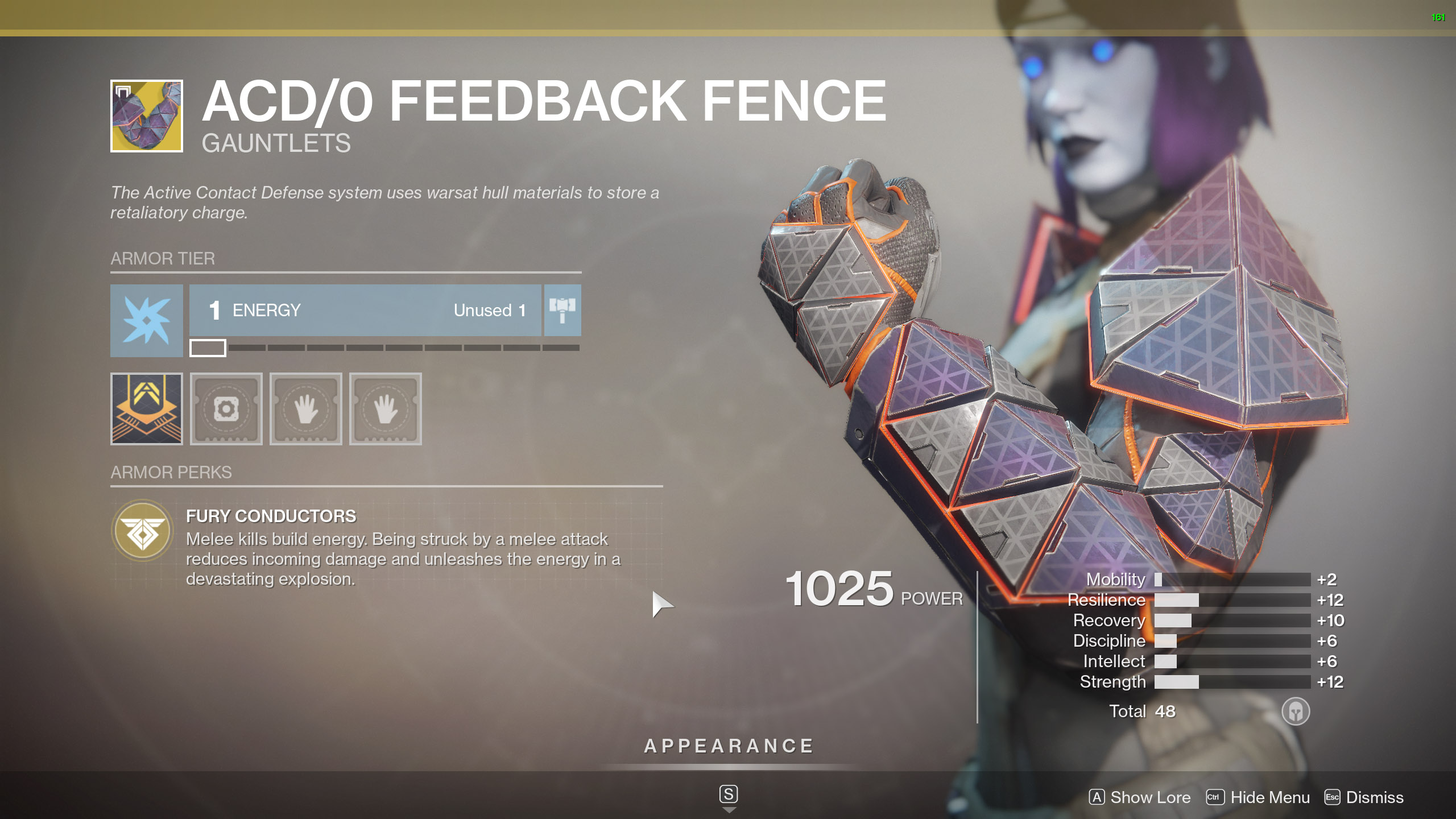 Destiny 2 Exotic Titan Armor ACD/0 Feedback Fence
