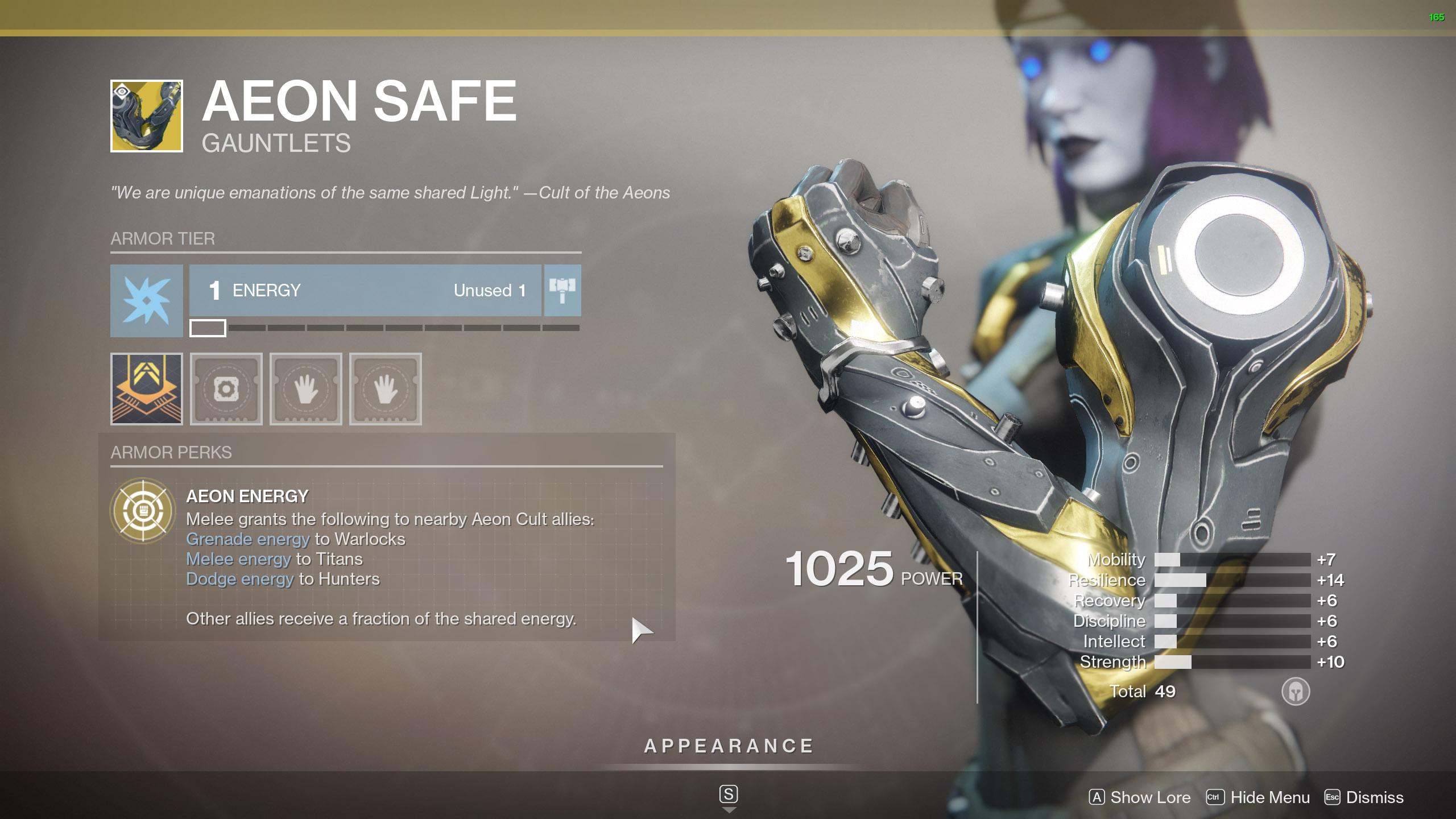 Destiny 2 Exotic Titan Armor Aeon Safe
