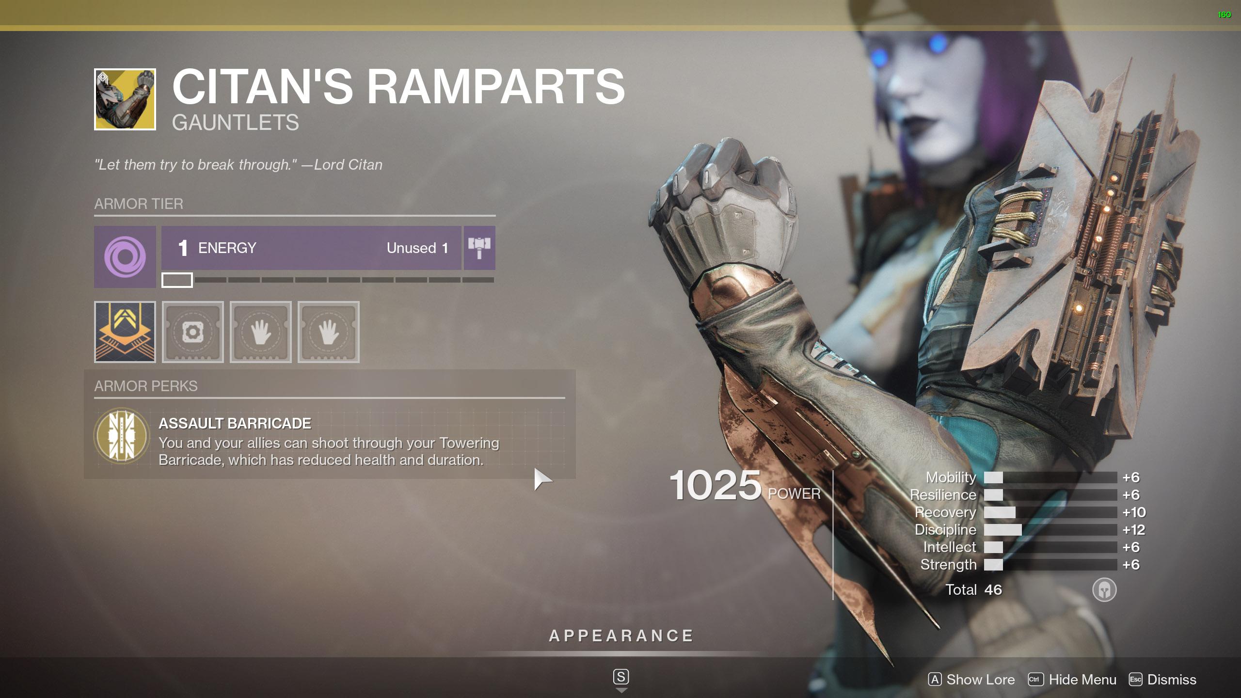 Destiny 2 Exotic Titan Armor Citan's Ramparts