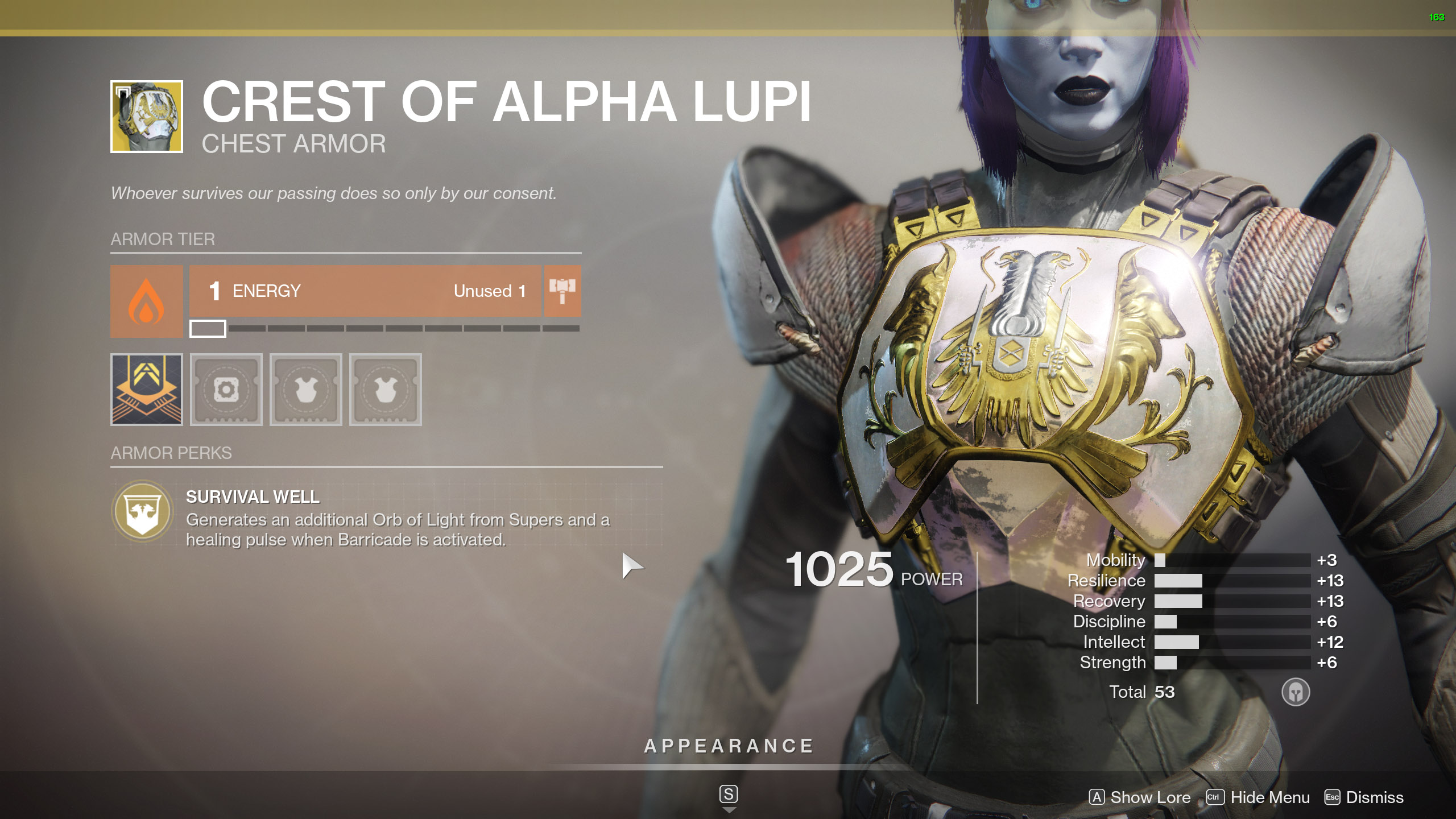 Destiny 2 Exotic Titan Armor Crest of Alpha Lupi