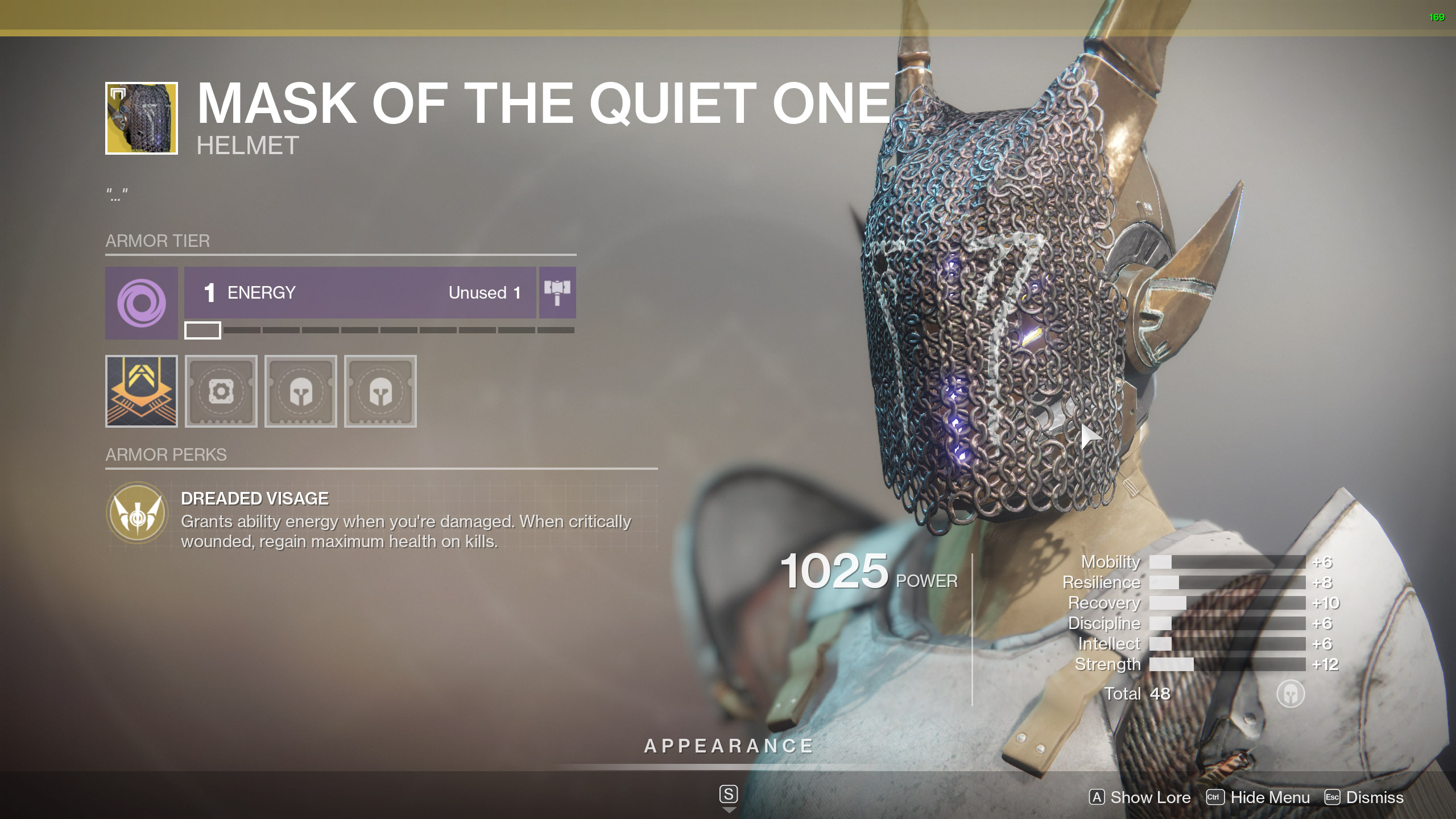 Destiny 2 Exotic Titan Armor Mask of the Quiet One