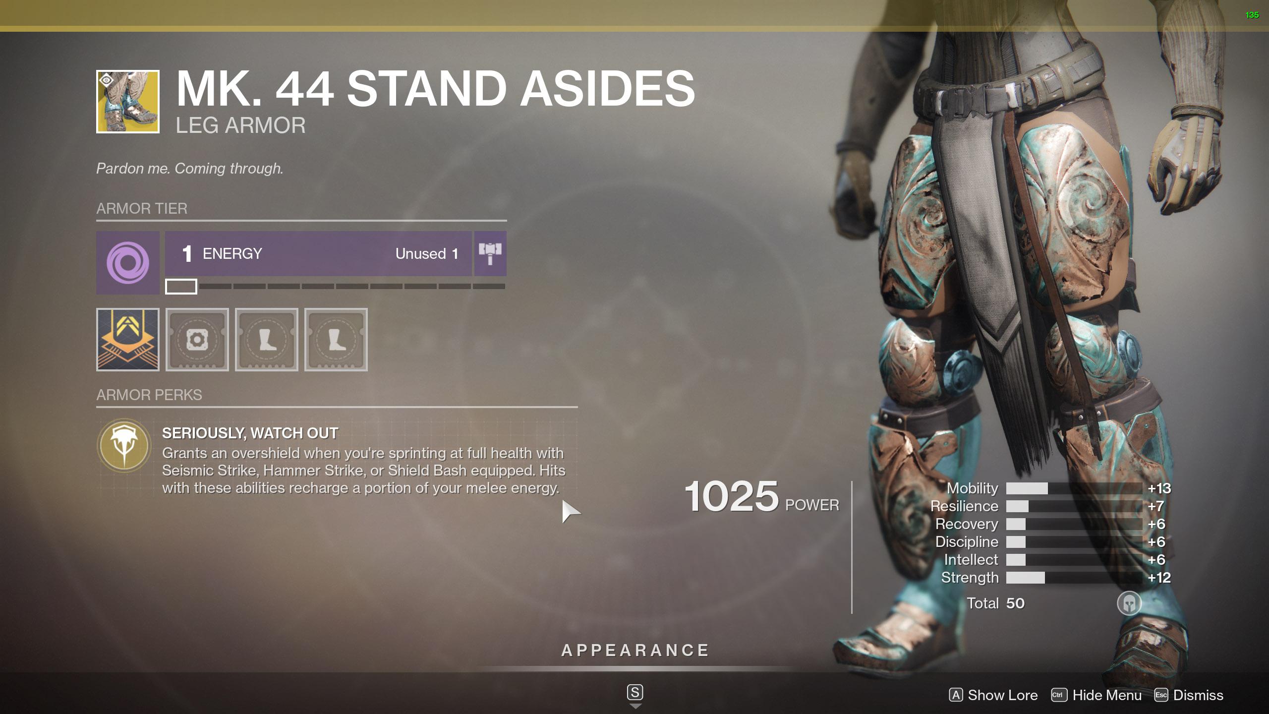 Destiny 2 Exotic Titan Armor MK. 44 Stand Asides