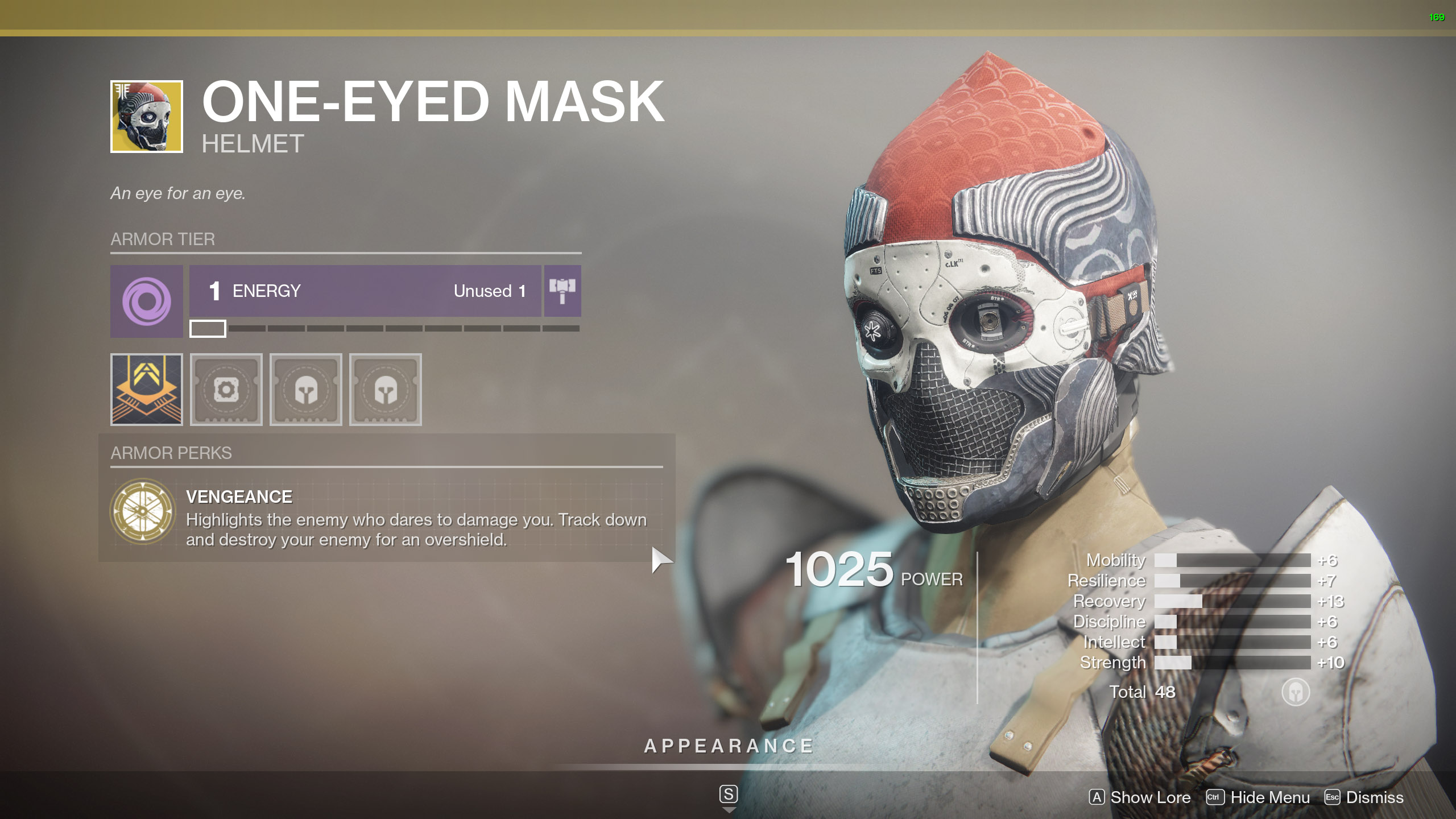 Destiny 2 Exotic Titan Armor One-Eyed Mask