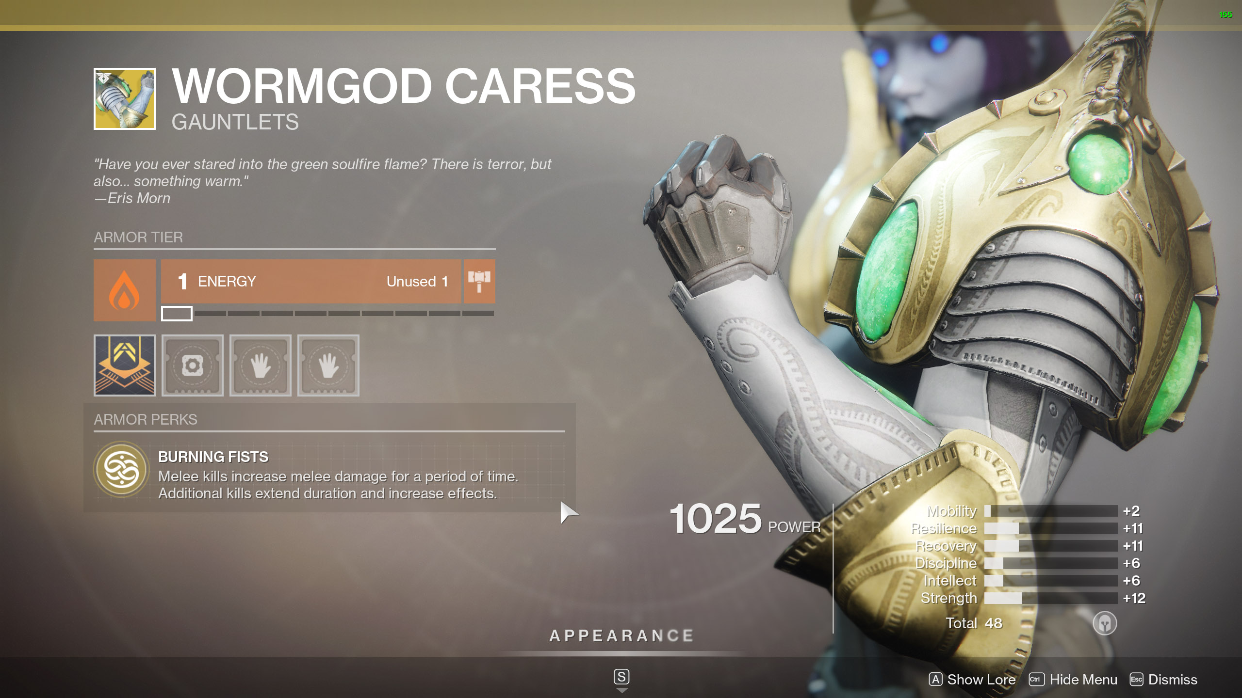 Destiny 2 Exotic Titan Armor Wormgod Caress