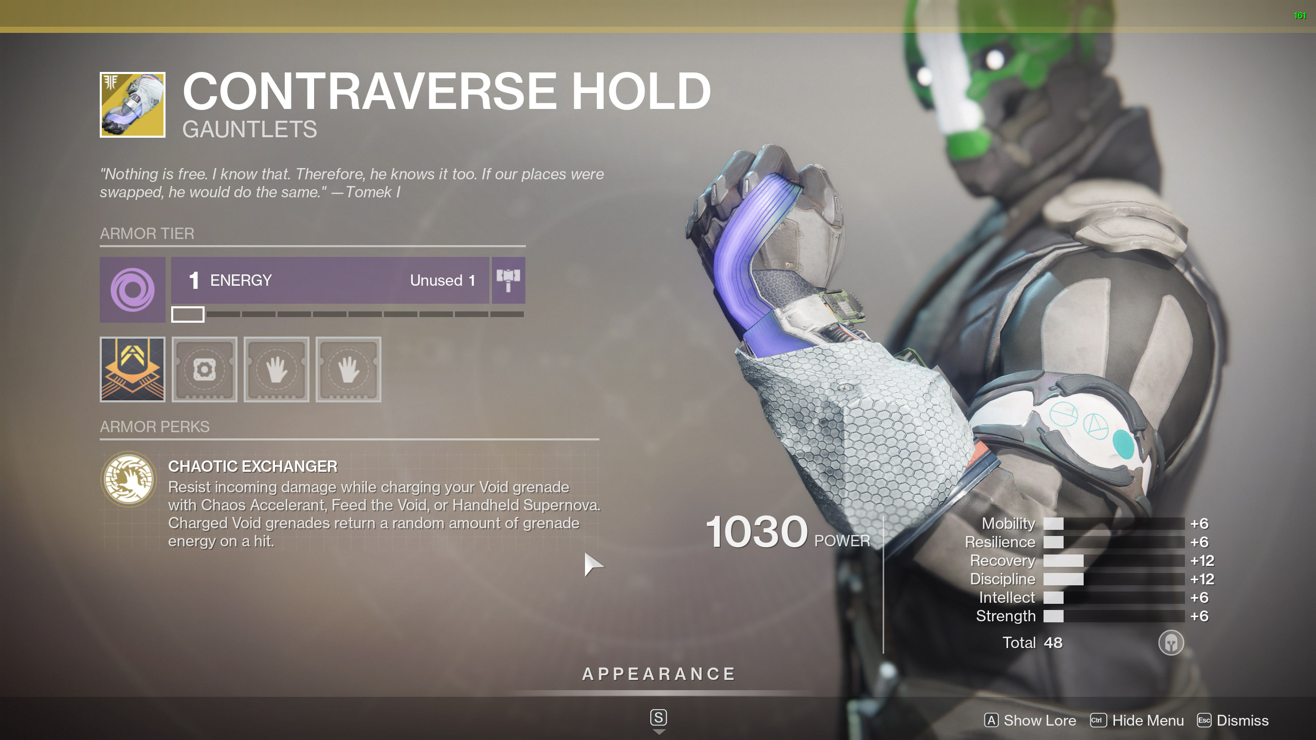 Destiny 2 Exotic Warlock Armor Contraverse Hold