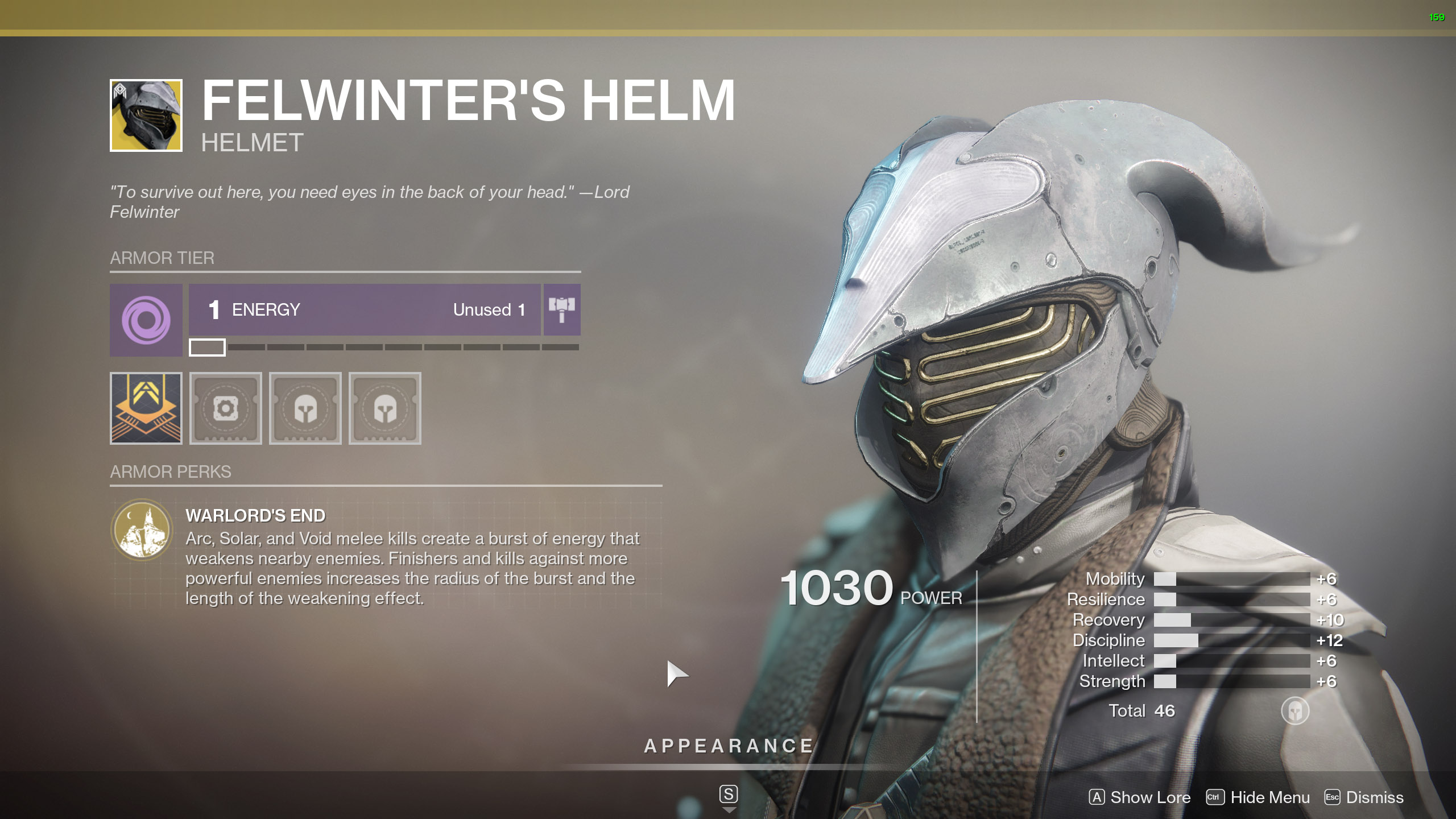 Destiny 2 Warlock Exotic Armor Felwinters Helm