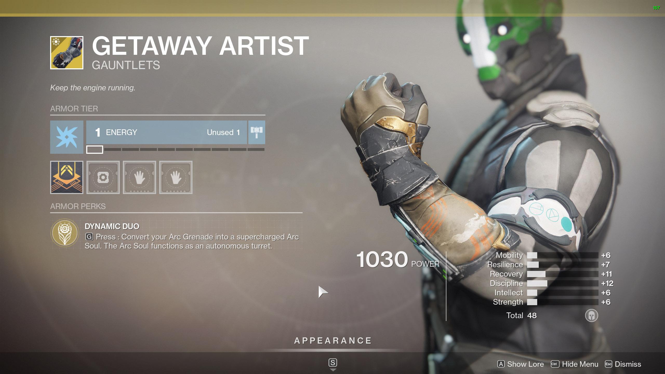 Destiny 2 Warlock Exotic Armor Getaway Artist