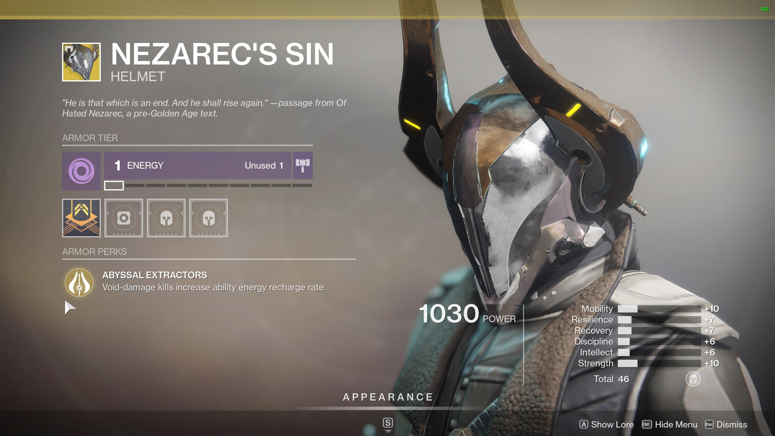Destiny 2 Warlock Exotic Armor Nezarec's Sin