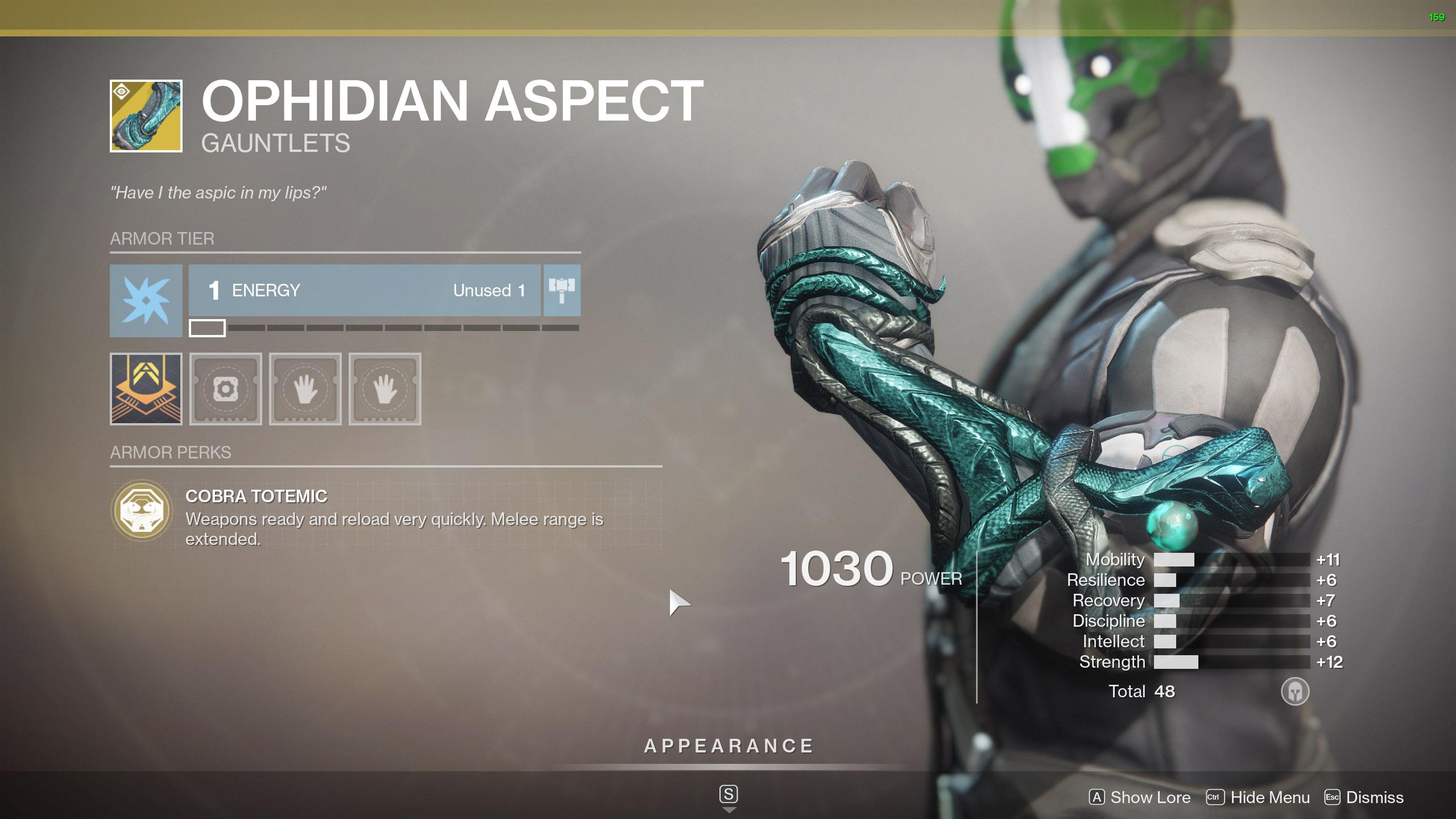 Destiny 2 Warlock Exotic Armor Ophidian Aspect