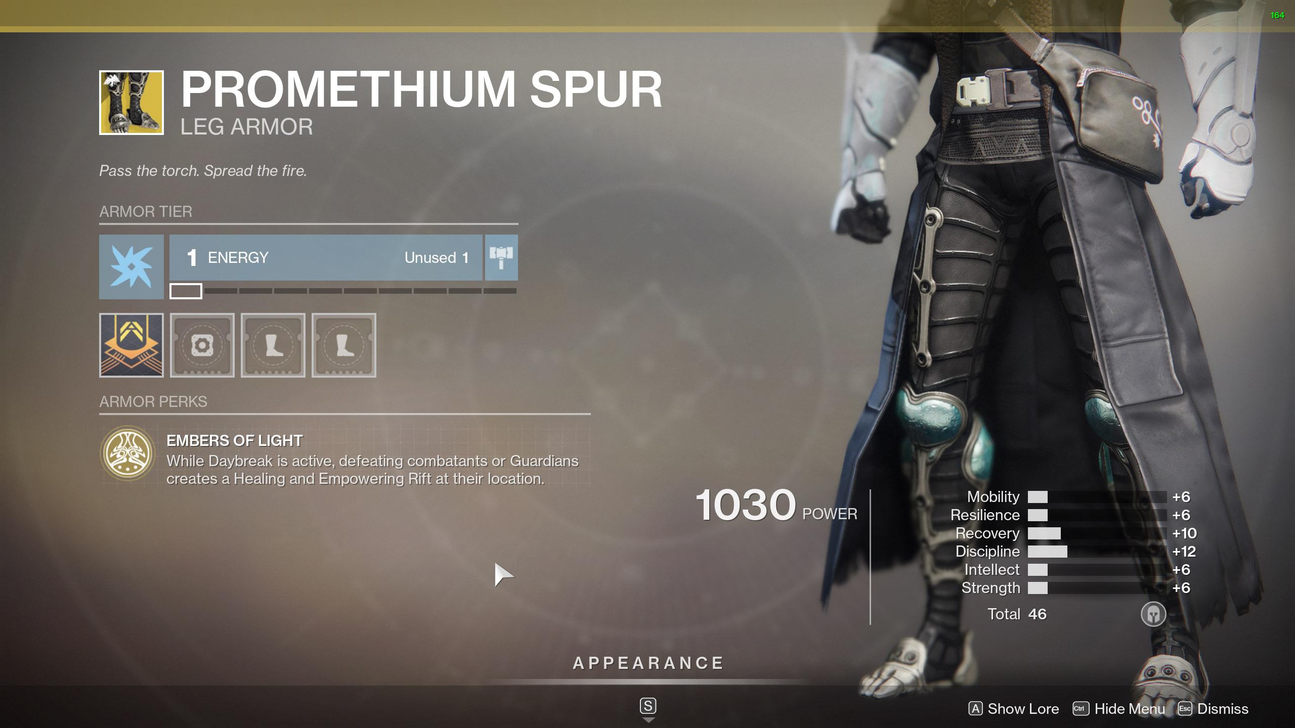 Destiny 2 Warlock Exotic Armor Promethium Spur
